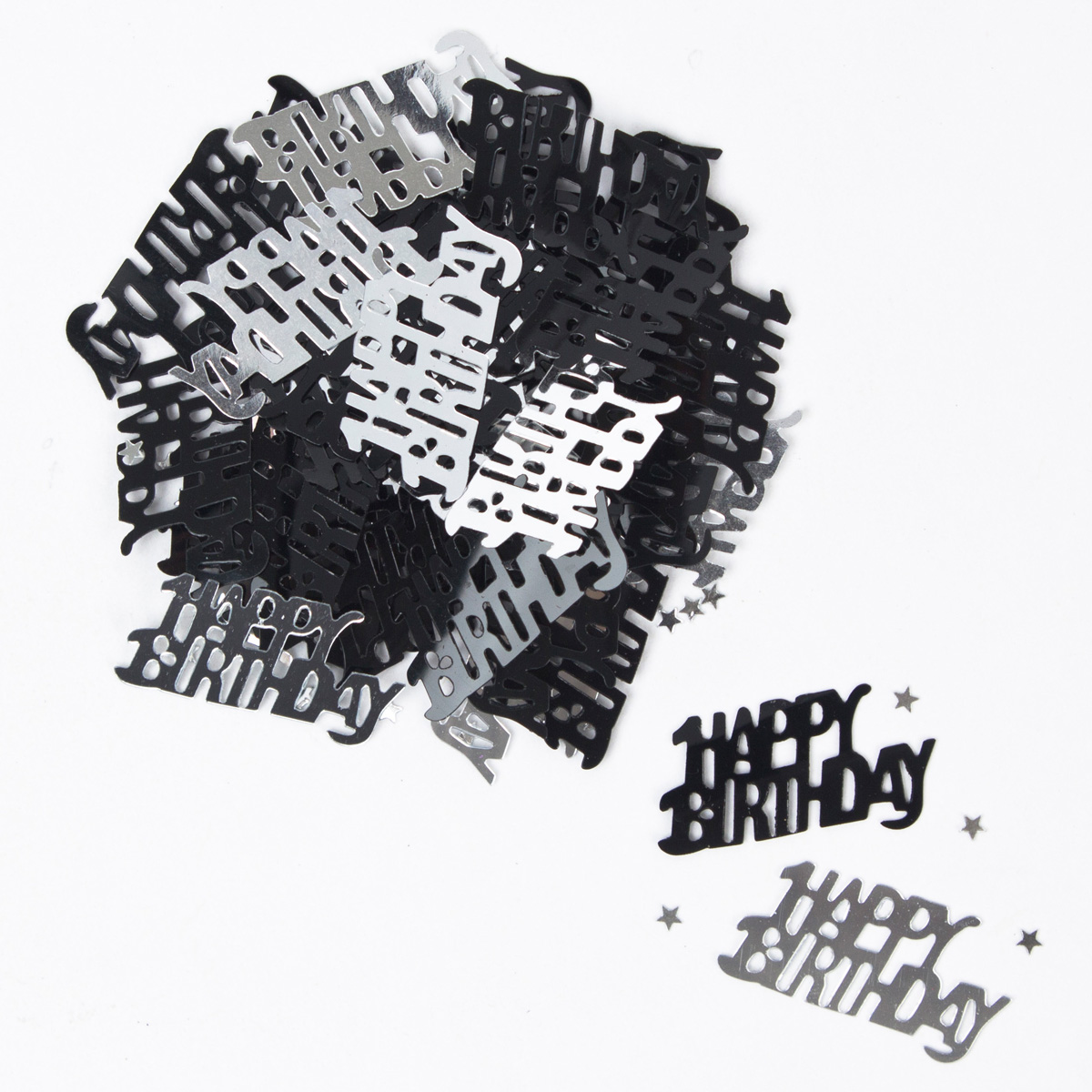 Black & Silver Happy Birthday Table Confetti