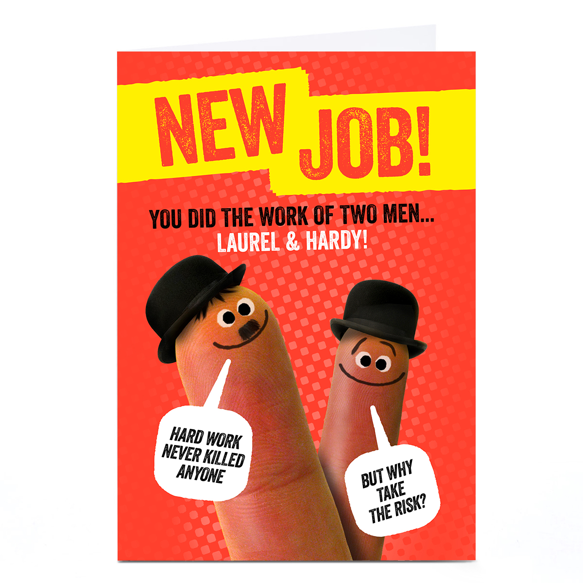 Personalised Finger Quips New Job Card - Laurel & Hardy