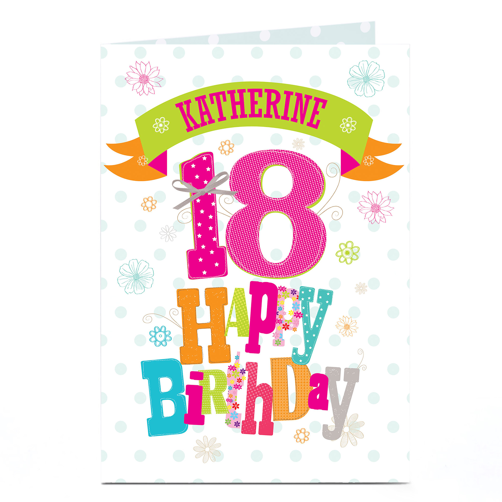 Personalised 18th Birthday Card - Bright Floral