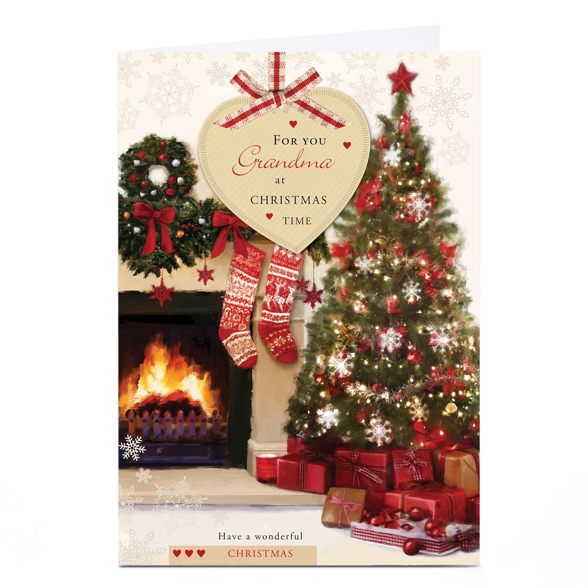 Personalised Christmas Card - Cosy Fireplace Scene