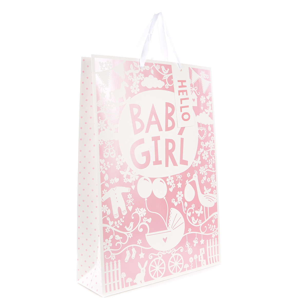 Large Pink And White Baby Girl Gift Bag