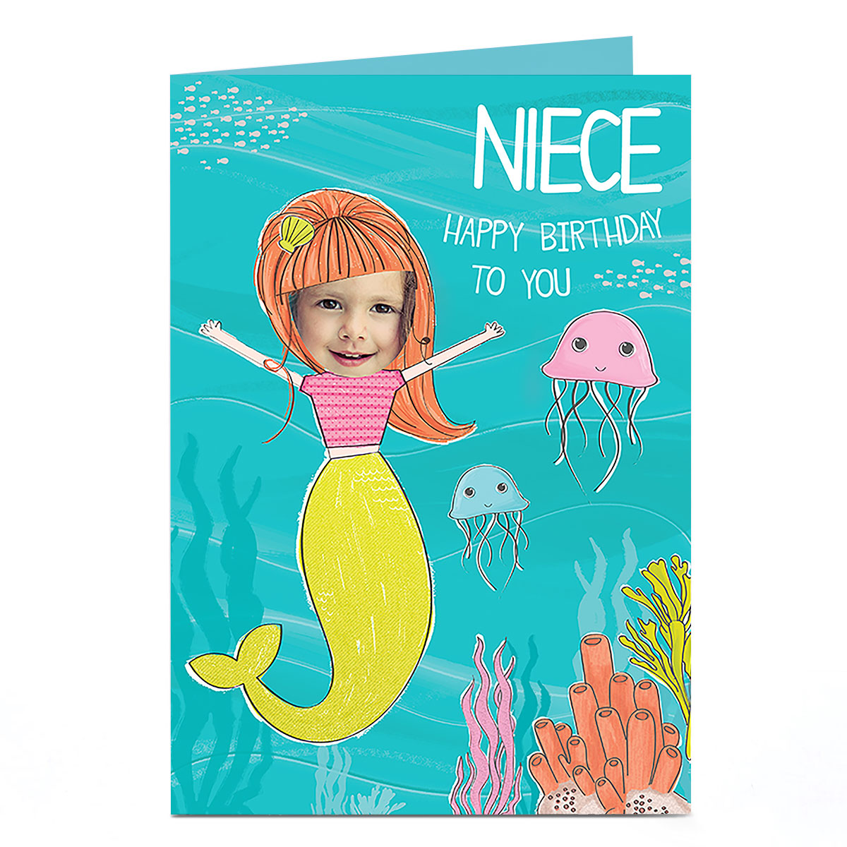 buy photo birthday card  niece you're a mermaid for gbp