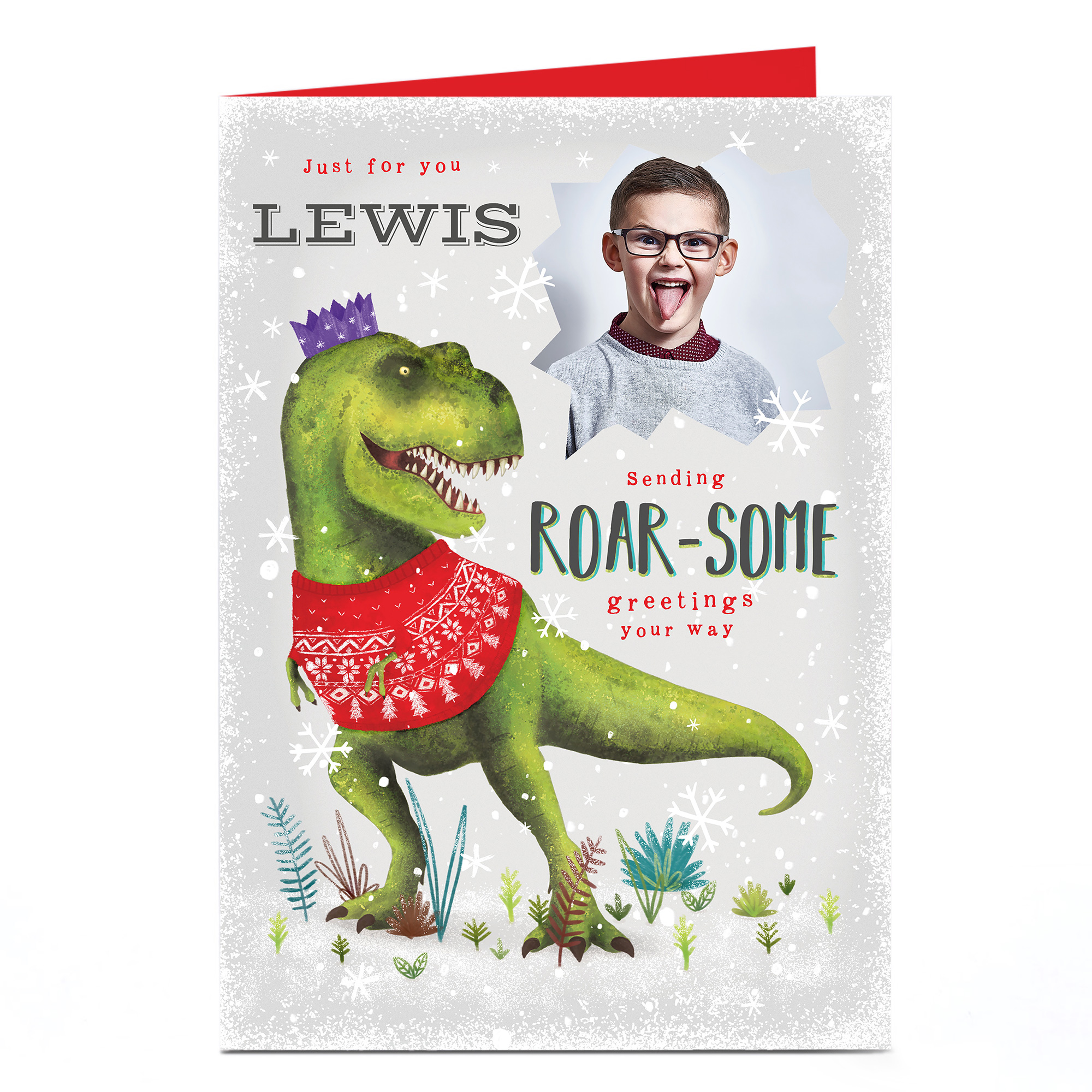 Personalised Photo Christmas Card - Roar-some Greetings