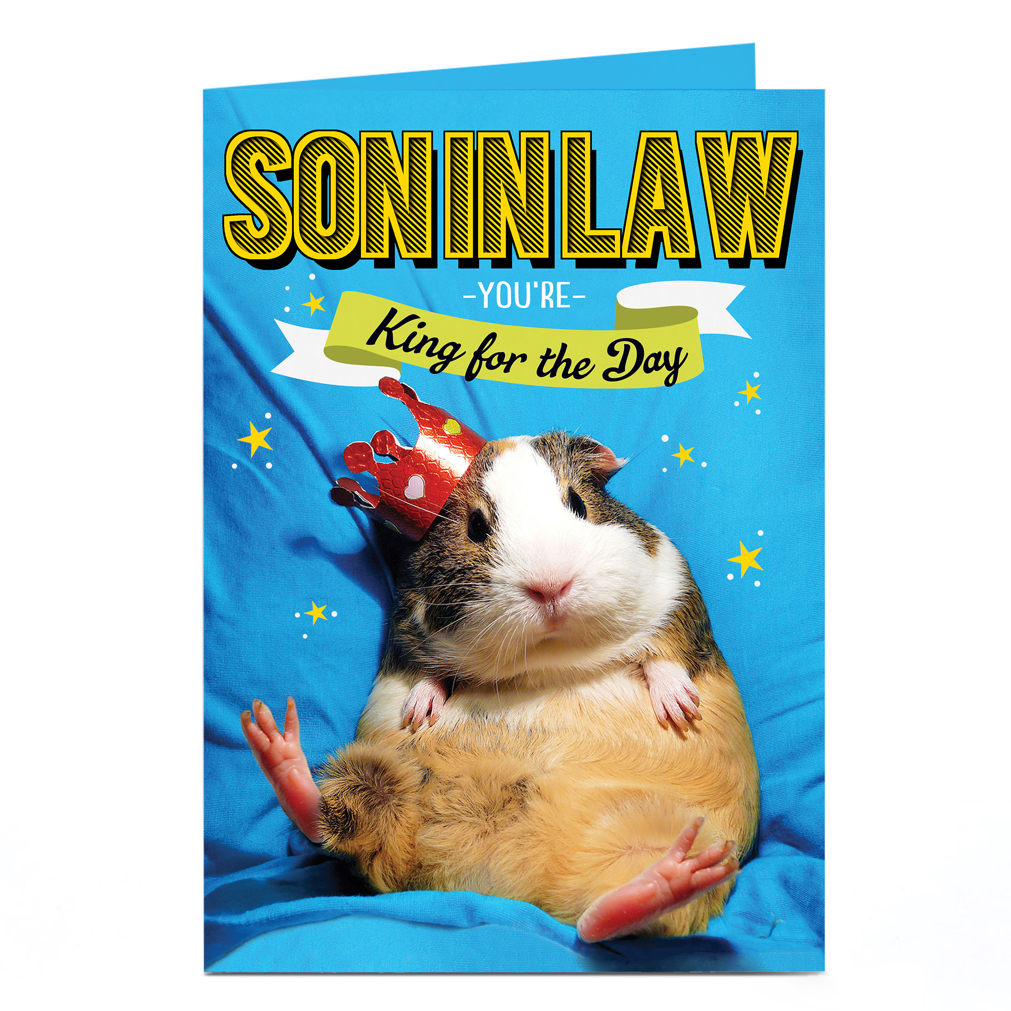 Personalised Birthday Card - Guinea Pig King, Son-In-Law