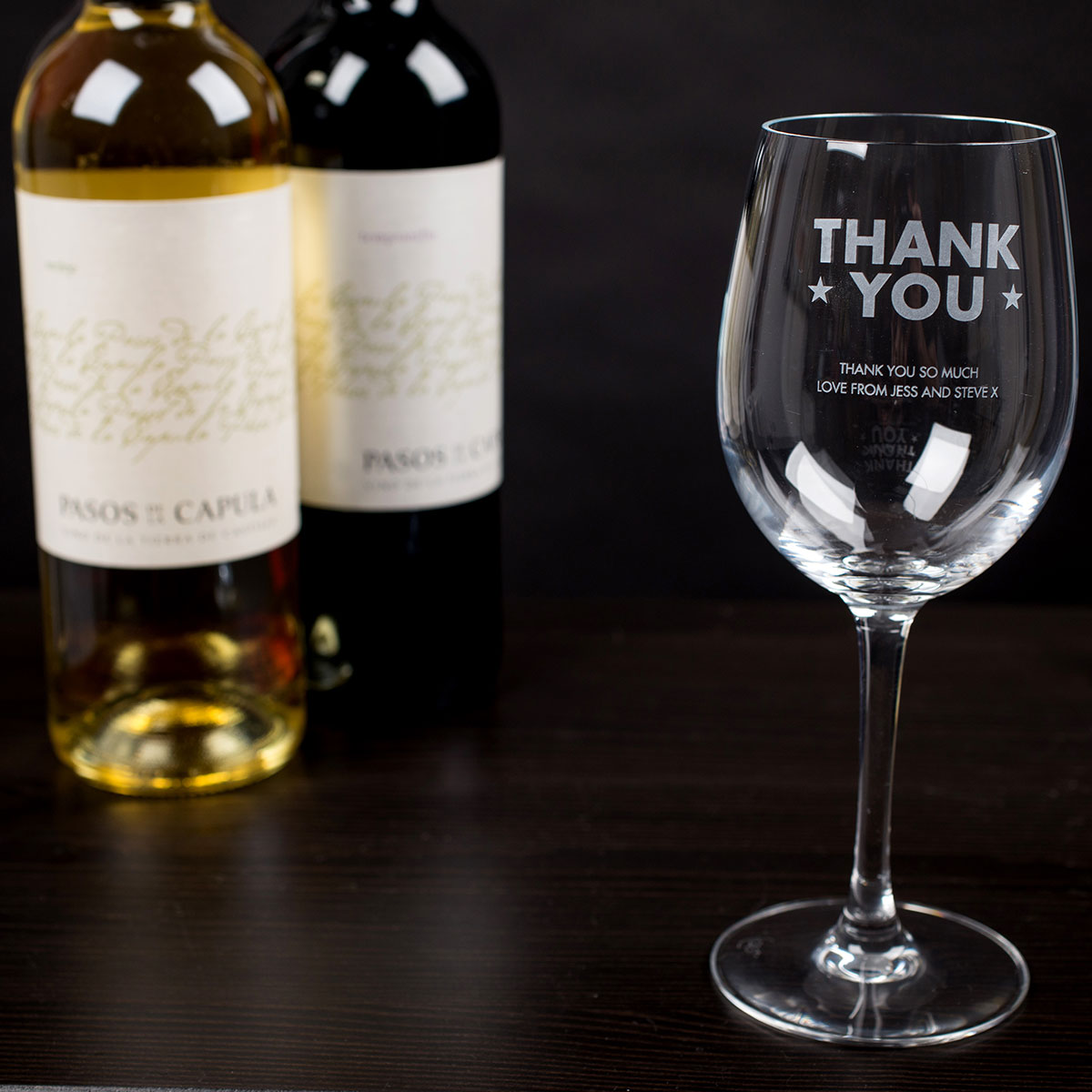 Personalised Thank You Stars Wine Glass