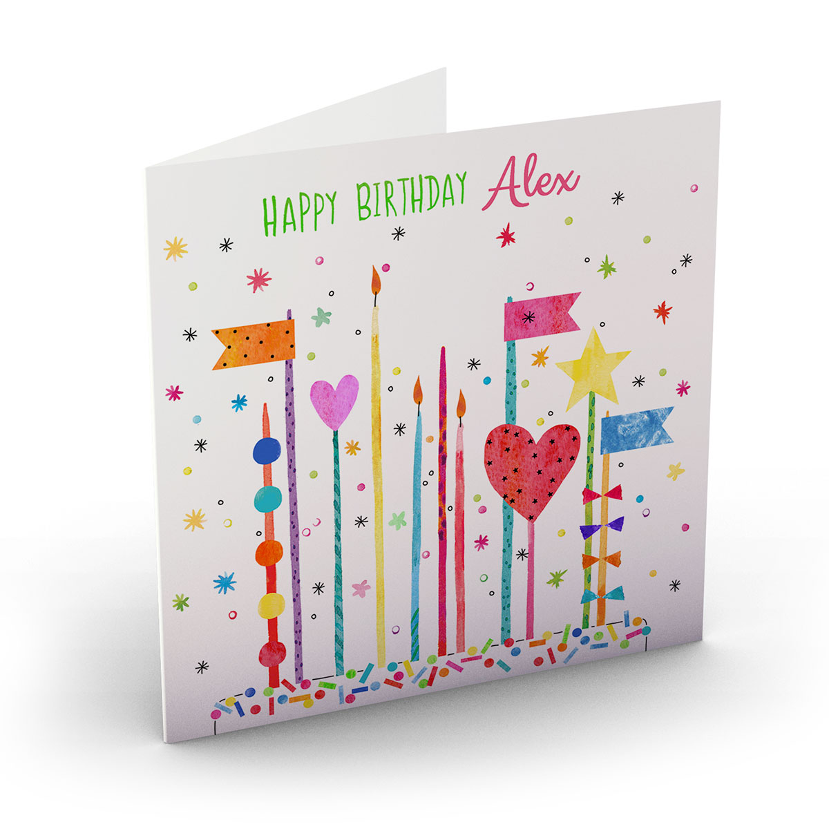 Personalised Nik Golesworthy Birthday Card - Colourful Cake Toppers