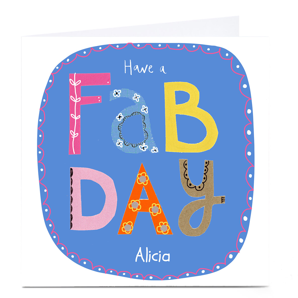 Personalised Lindsay Loves To Draw Birthday Card - Have a Fab Day