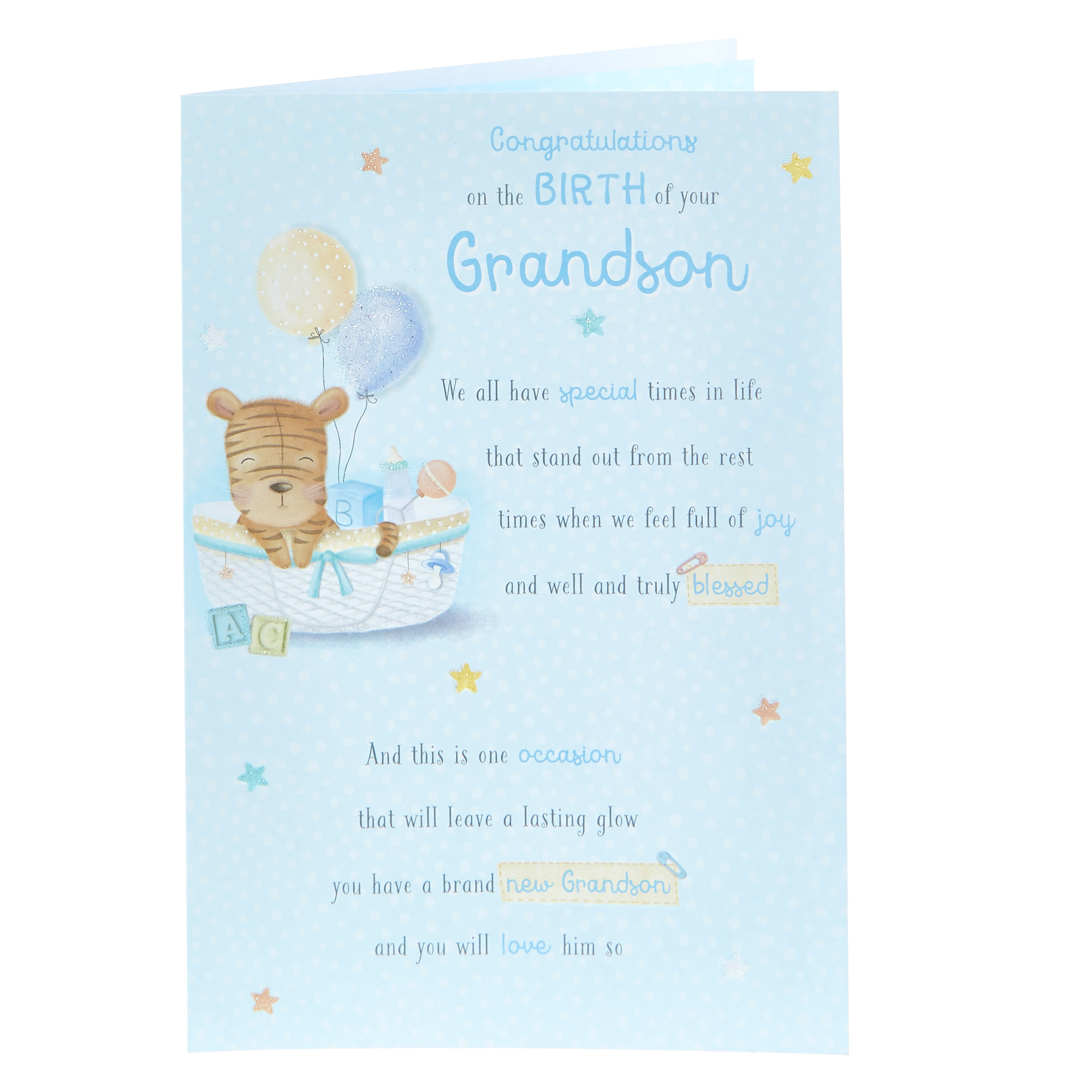 NEW BABY GRANDSON CARD GRANDPARENT CONGRATULATIONS BOY BIRTH FLITTER FINISH