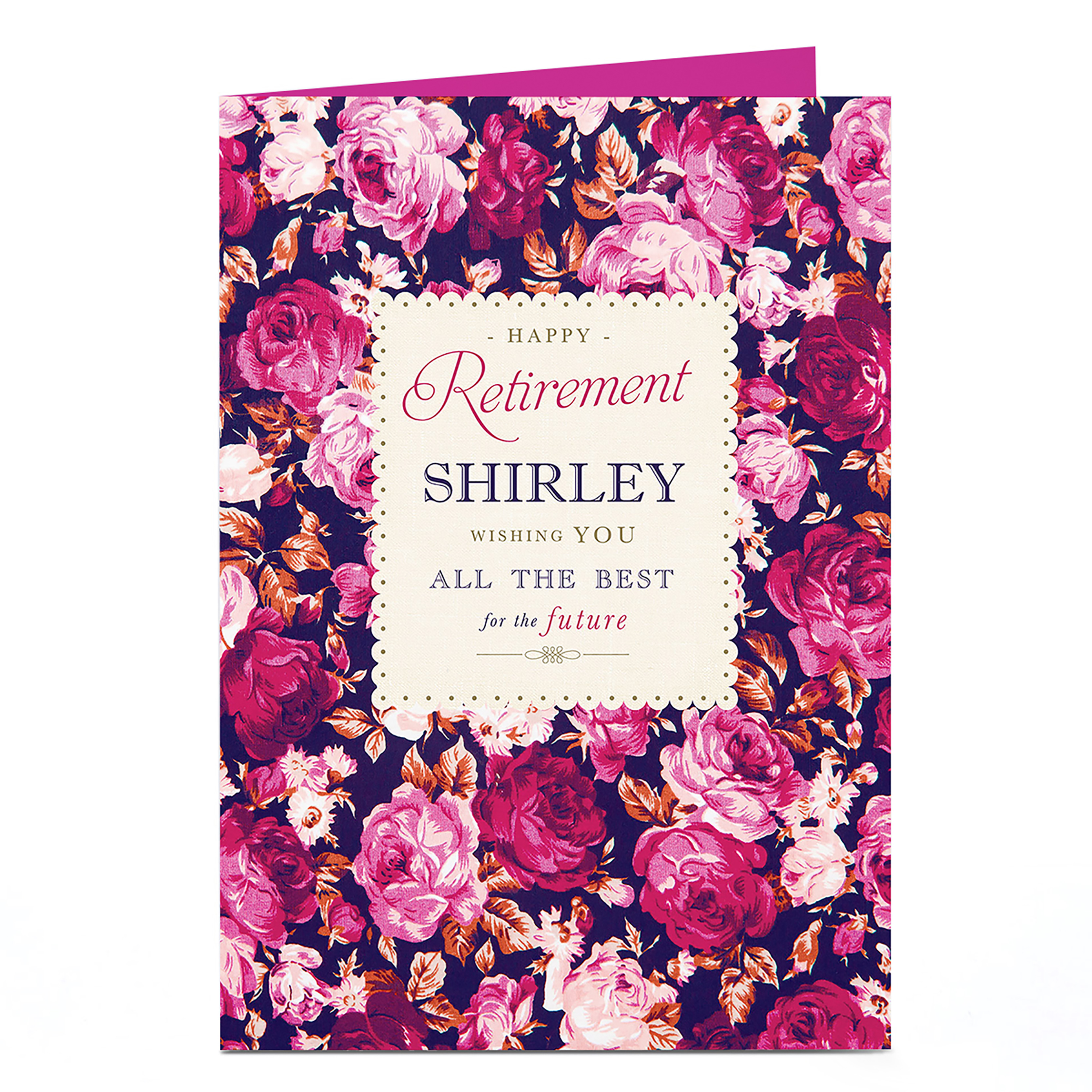 Personalised Retirement Card - Pink & Purple Roses