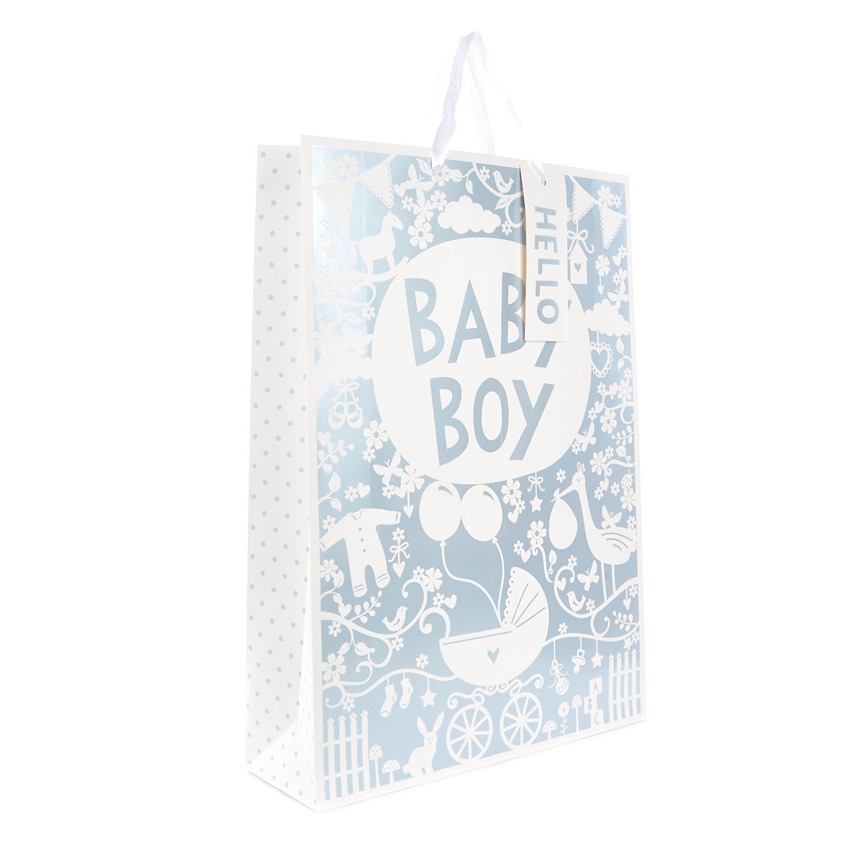 Large Blue Gift Bag - Hello Baby Boy