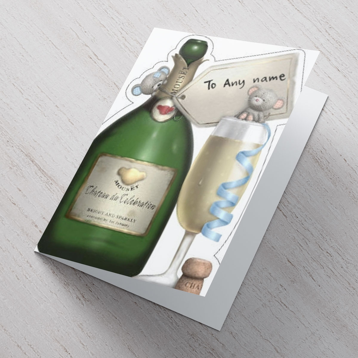 Personalised Hugs Card - Celebration Champagne