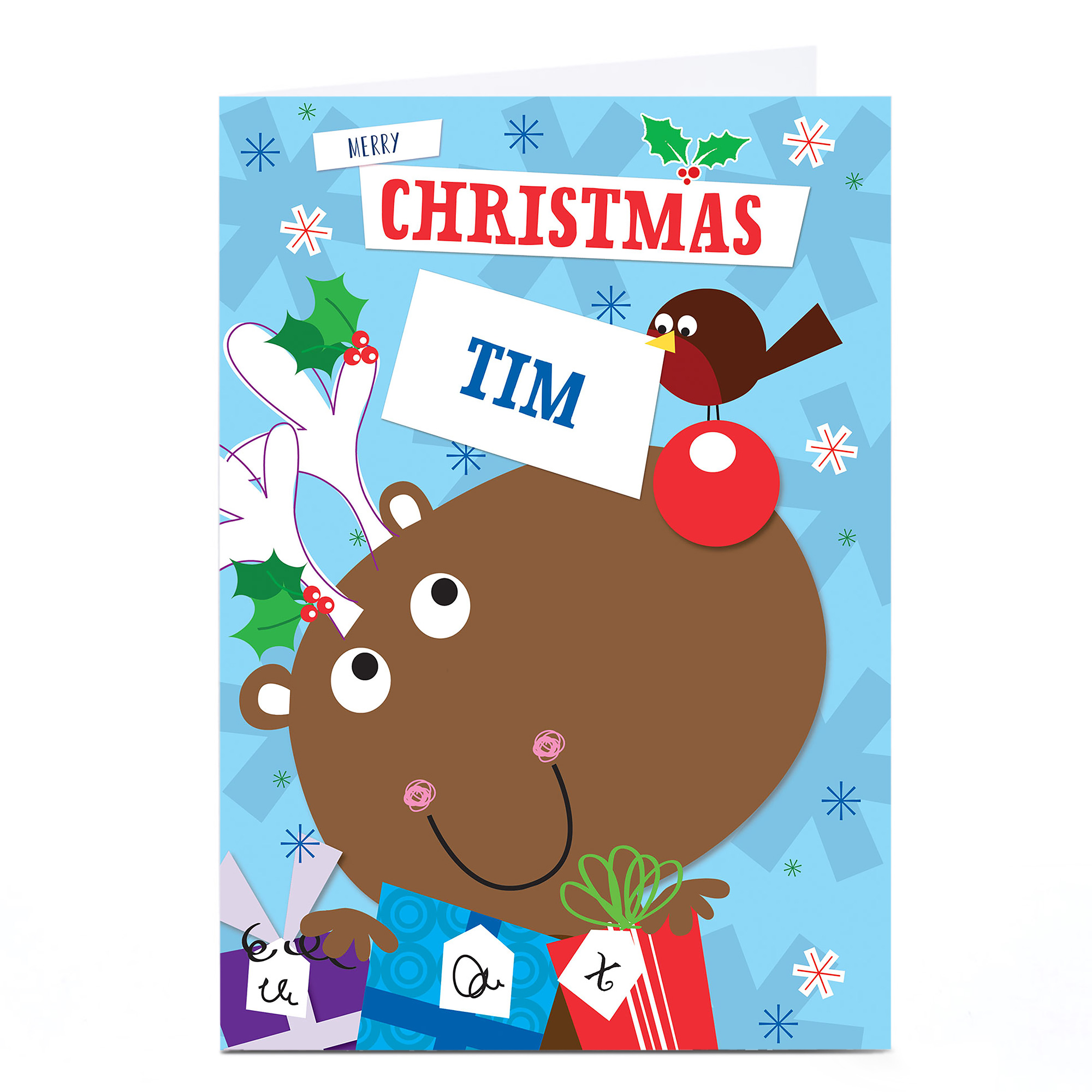Personalised Christmas Card - Cartoon Reindeer