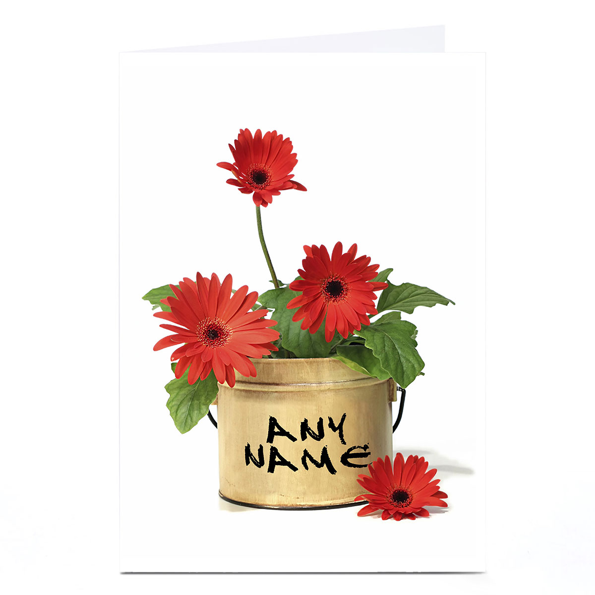 Personalised Card - Pot Of Red Flowers