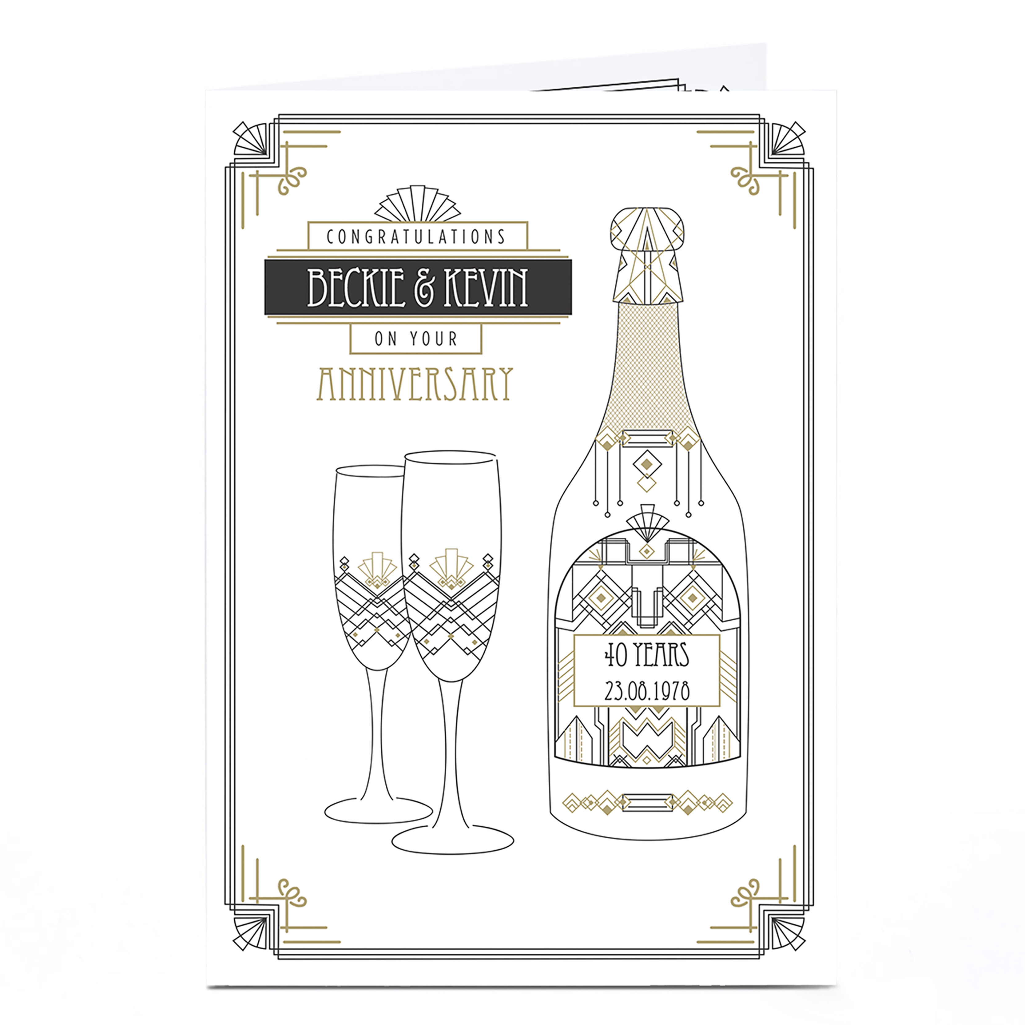 Personalised Anniversary Card - Art Deco Champagne 40 Years
