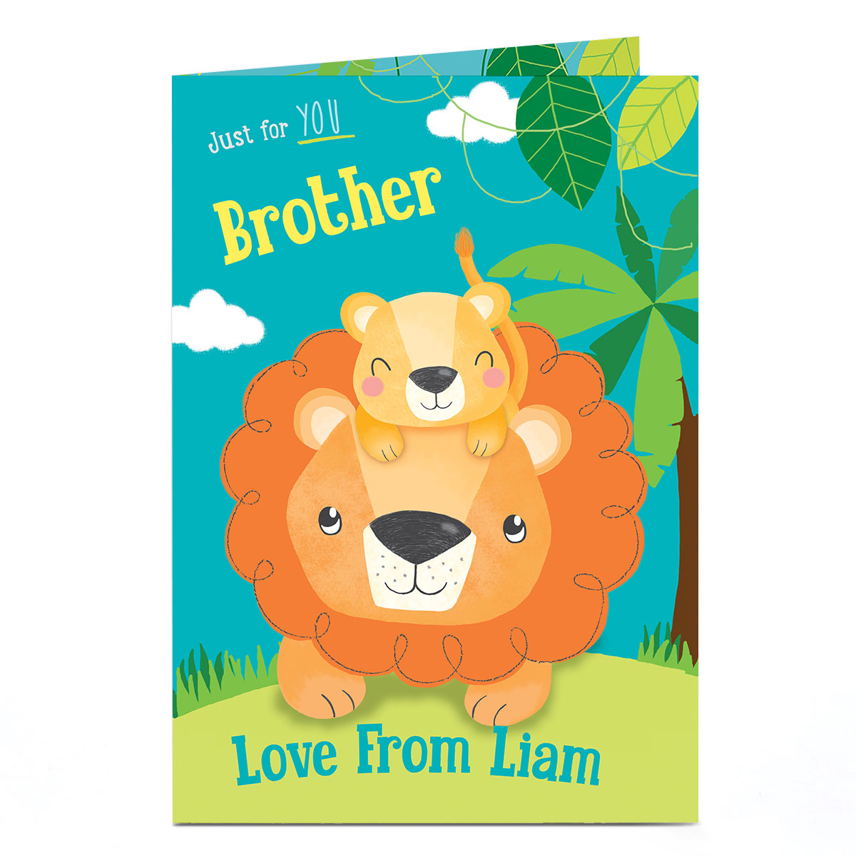 Personalised Birthday Card - Lion & Cub [Brother]