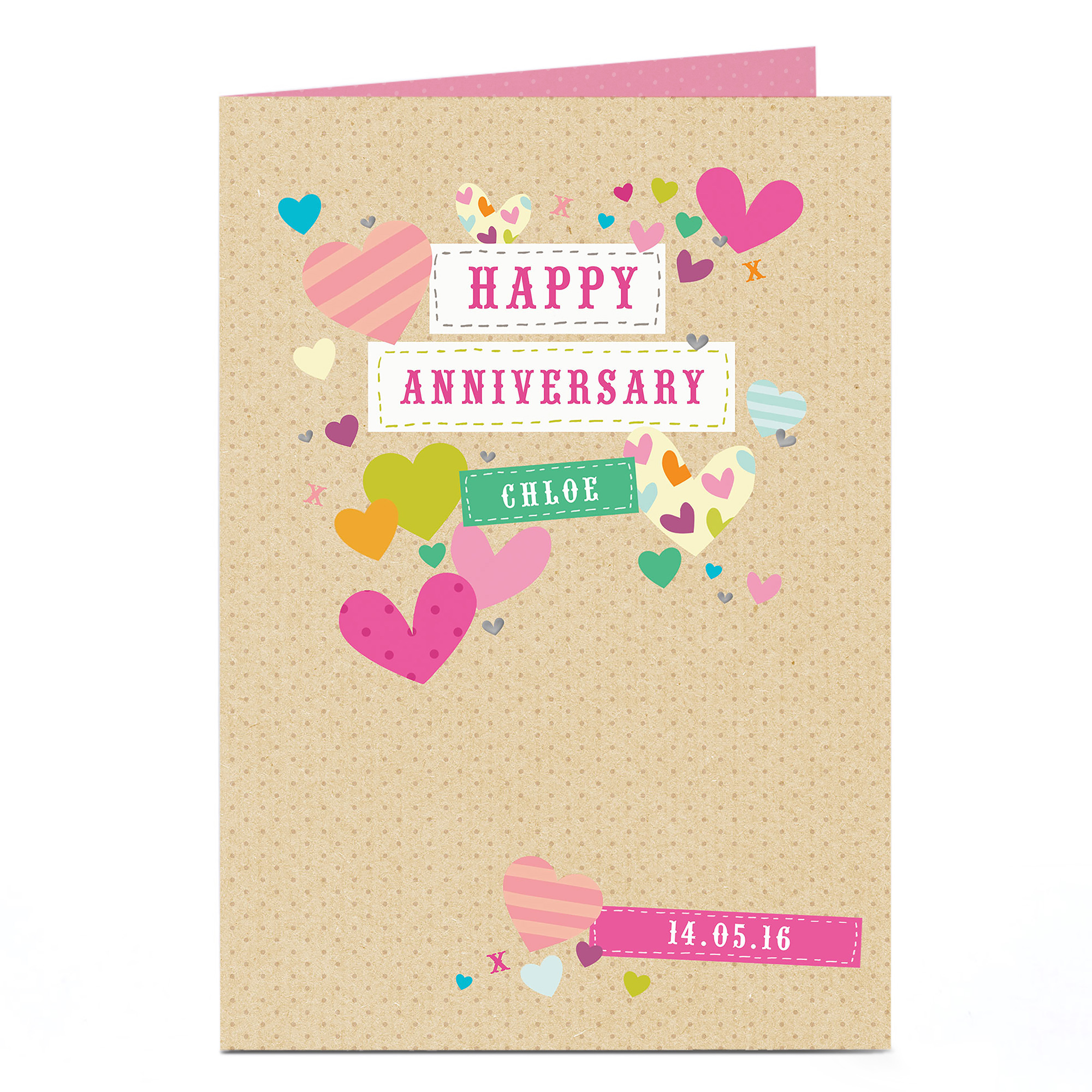 Personalised Anniversary Card - Pretty Hearts & Date