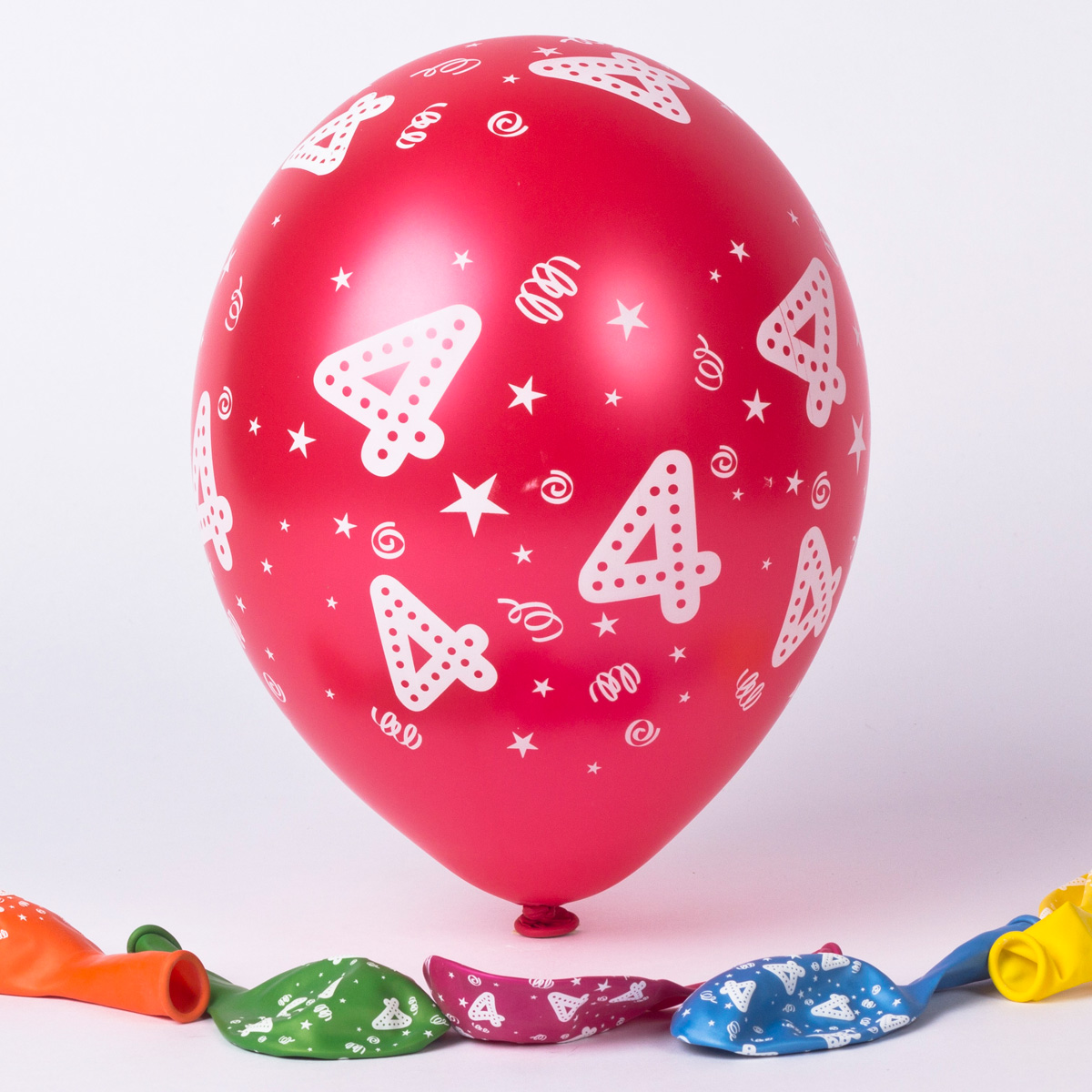 Multicoloured 4th Birthday Latex Balloons - Pack Of 6