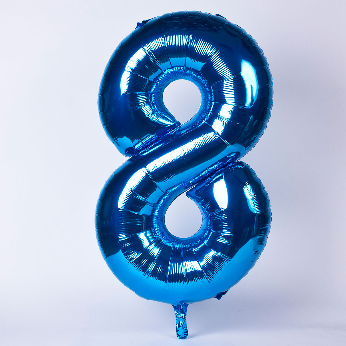 Blue Number 8 Giant Foil Helium Balloon INFLATED