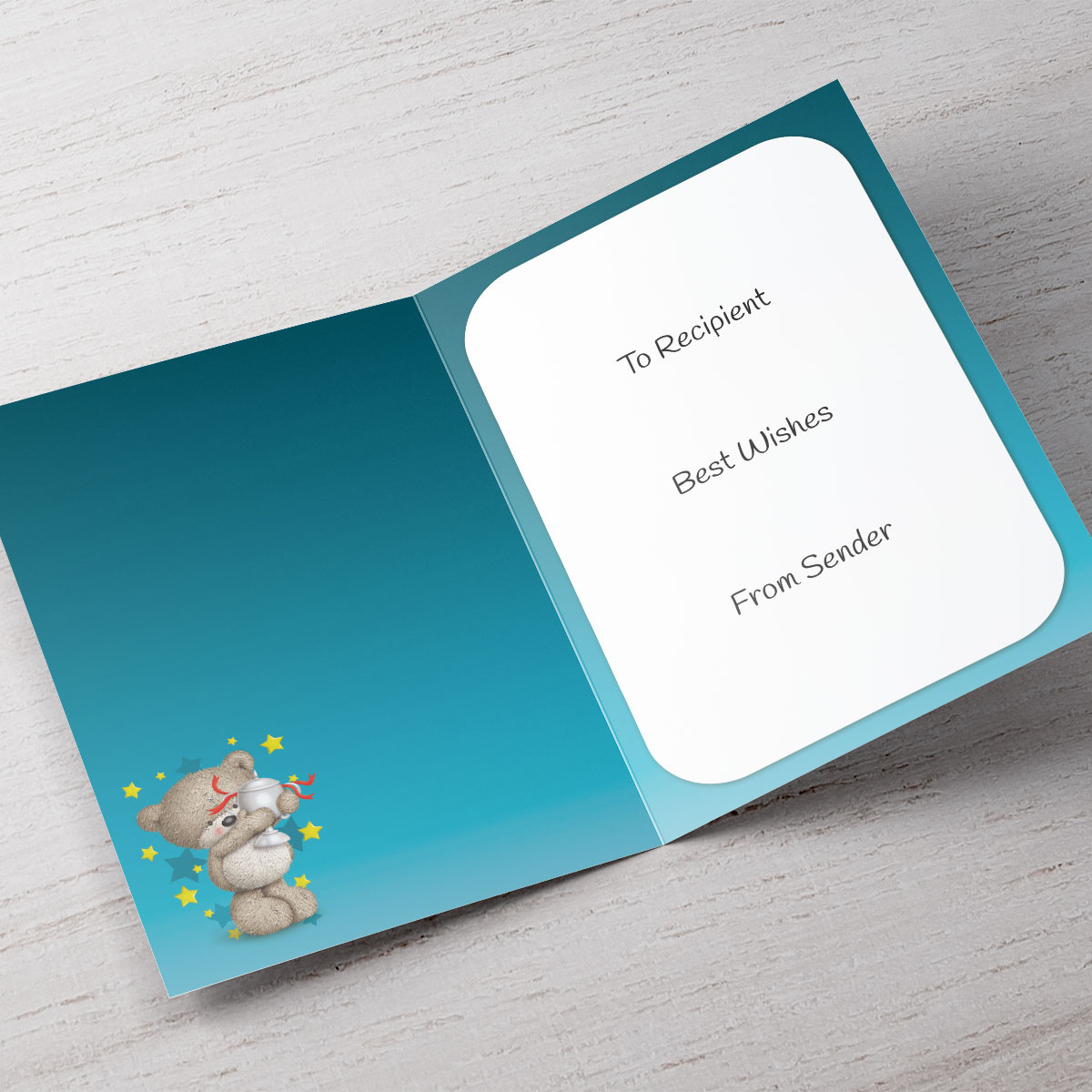 Personalised Hugs Congratulations Card - Bear & Trophy