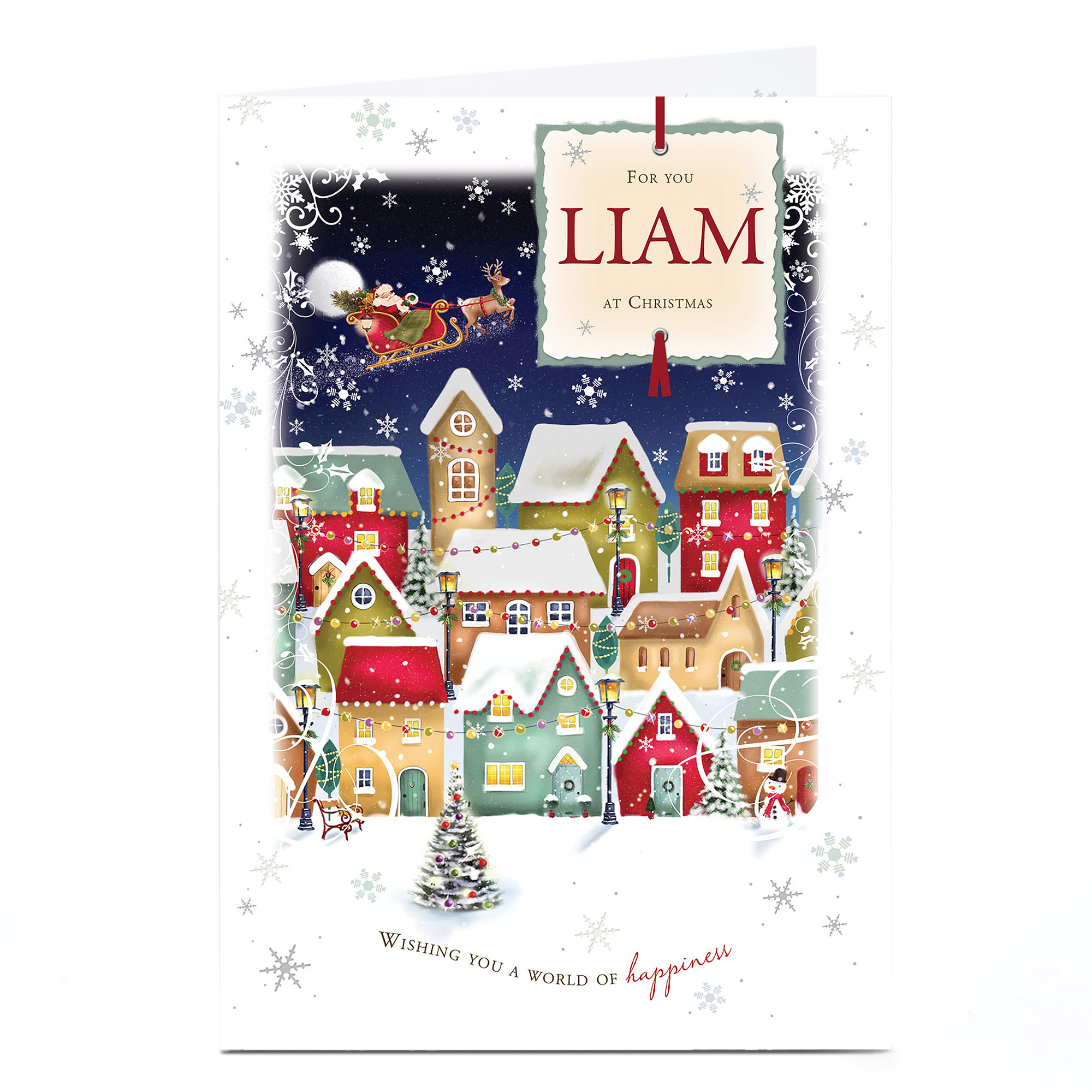 Personalised Christmas Card - Snowy Village