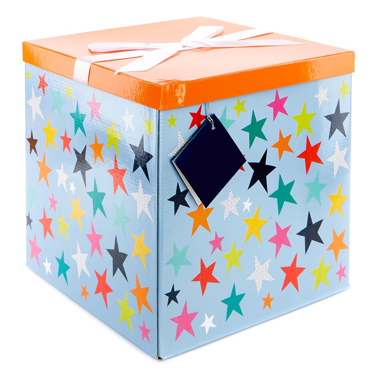 buy jumbo flatpack gift box  orange  blue stars for gbp
