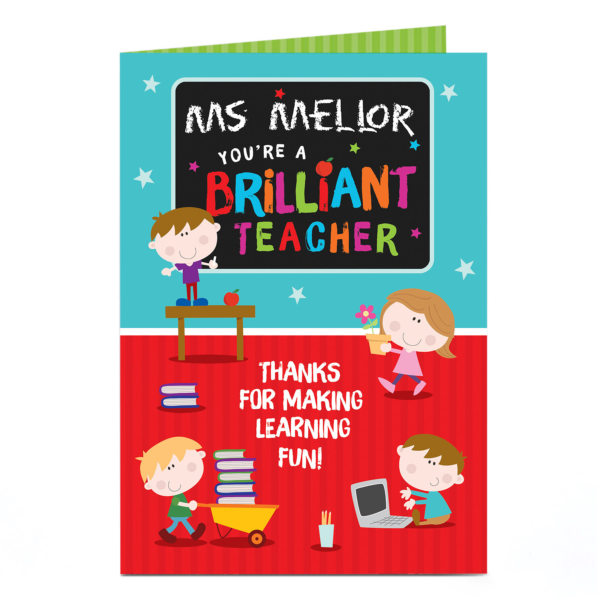 Personalised Thank You Teacher Card - You Make Learning Fun!