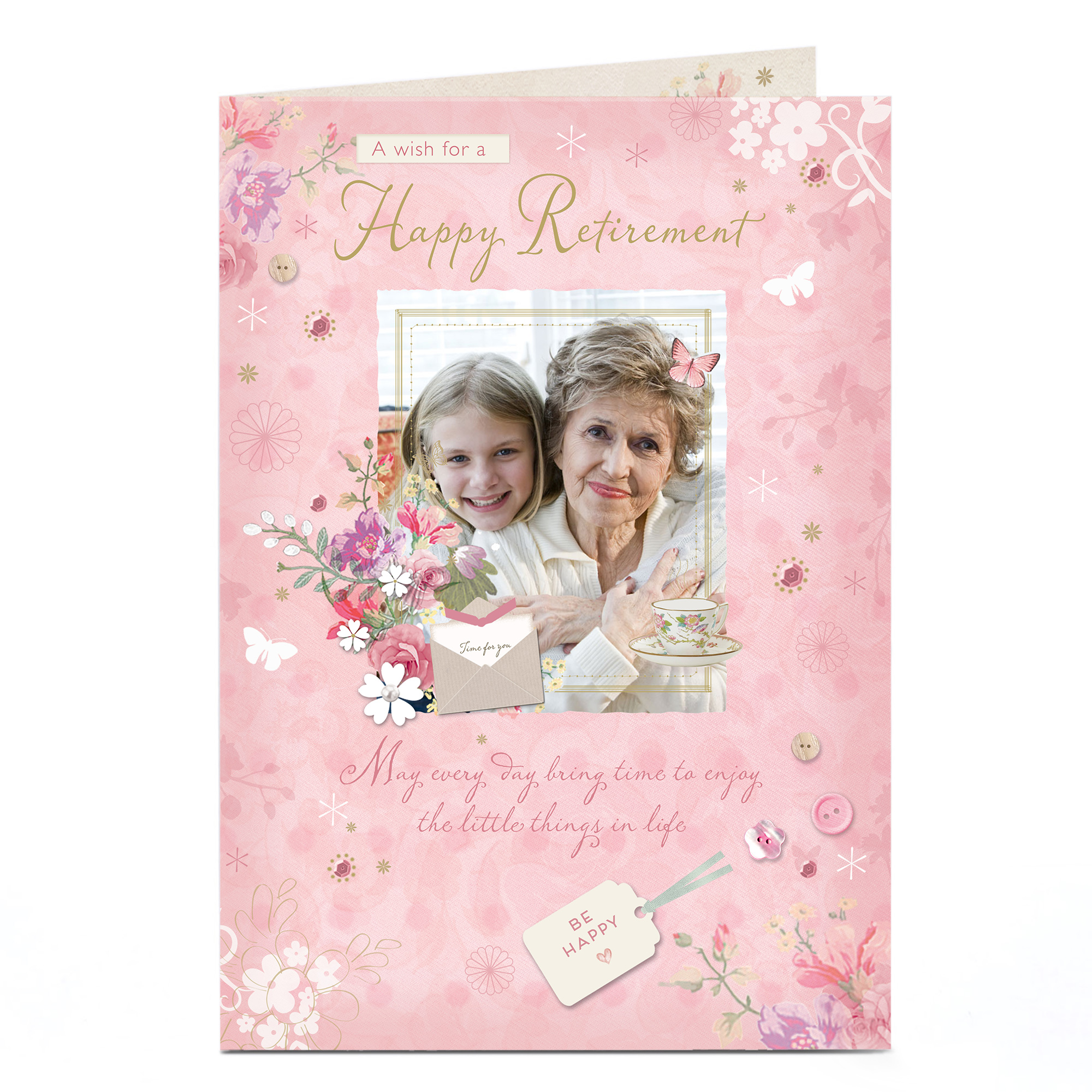Photo Retirement Card - Pink Flowers