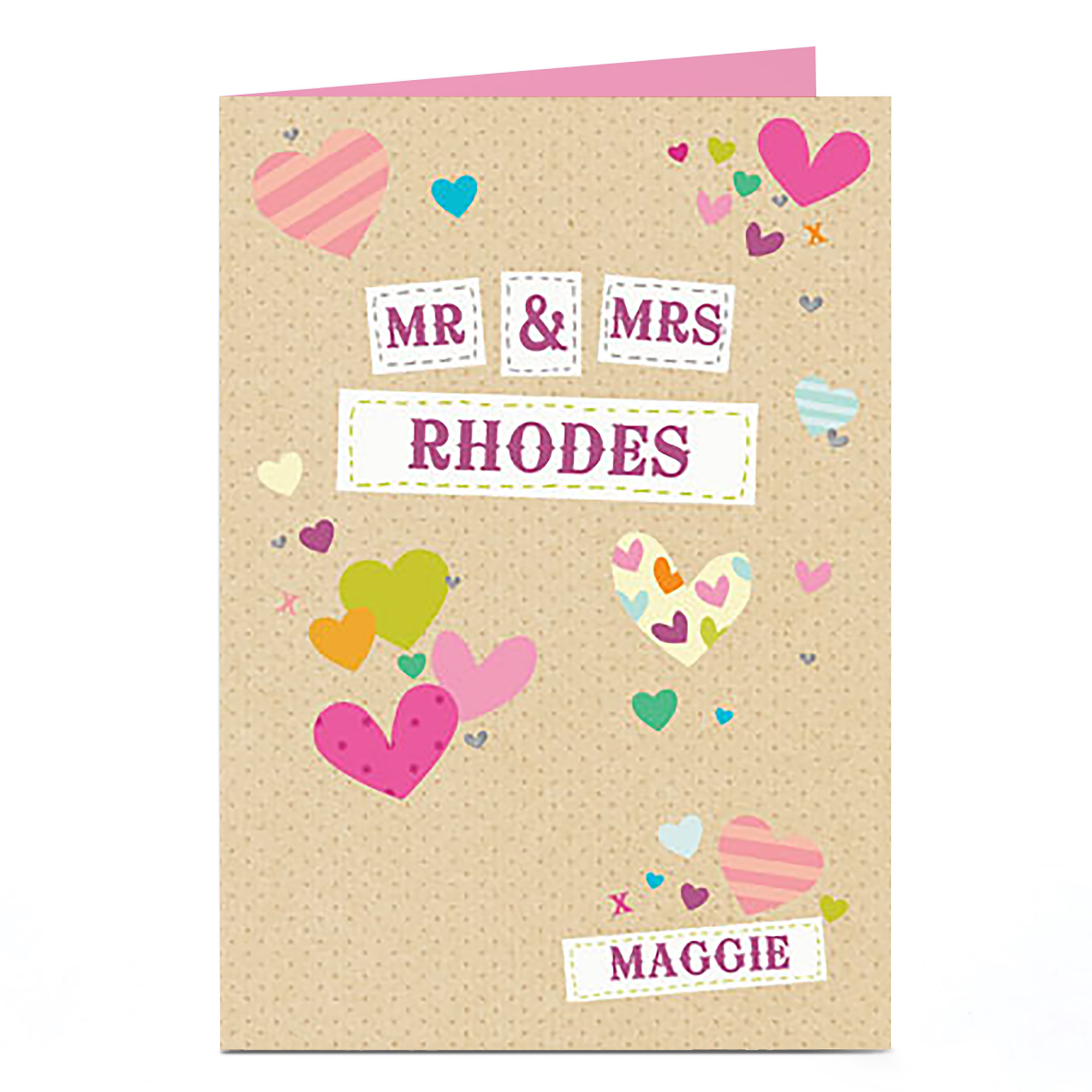 Personalised Wedding Card - Mr & Mrs, Hearts