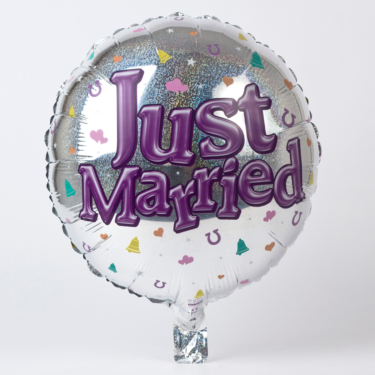 Silver Just Married Foil Helium Balloon