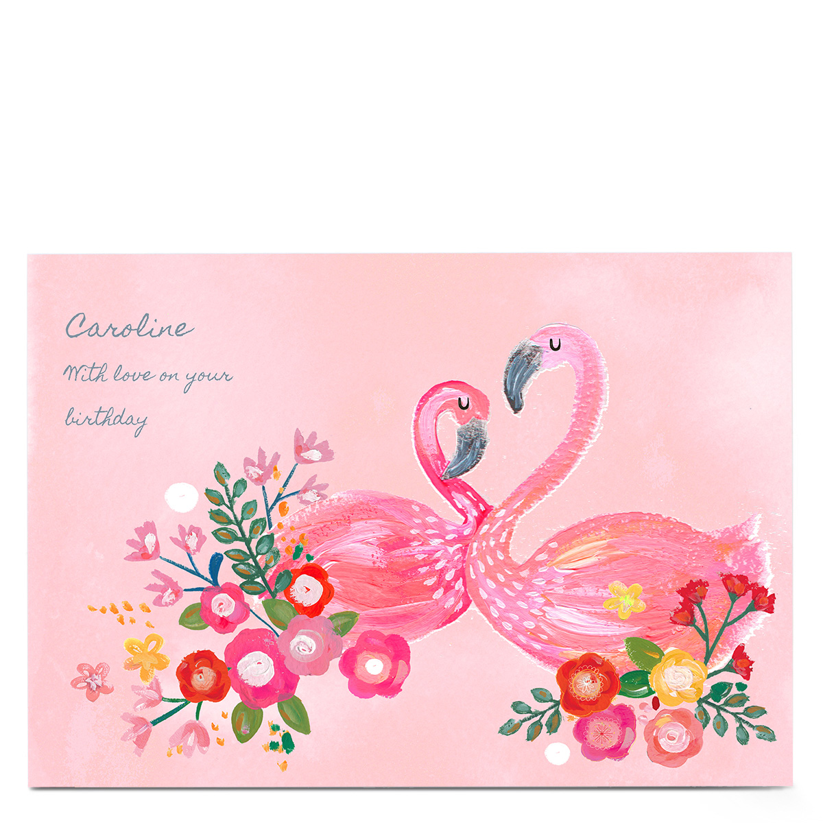Personalised Kerry Spurling Card - Flamingos
