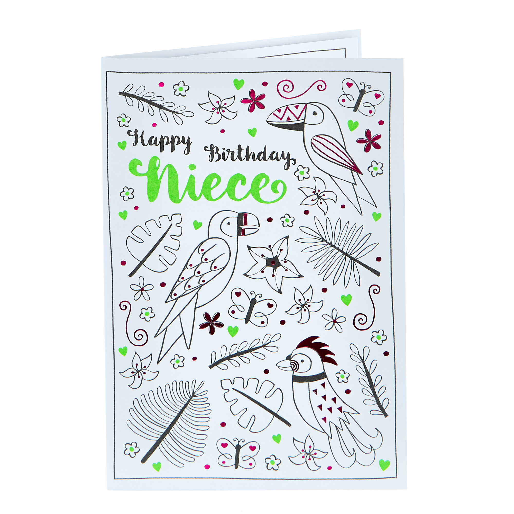 Colour-In Birthday Card - Niece (With Stickers)