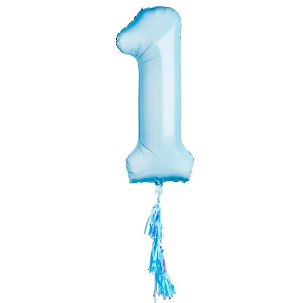 Pastel Blue 40-Inch Number 1 Balloon (Deflated)