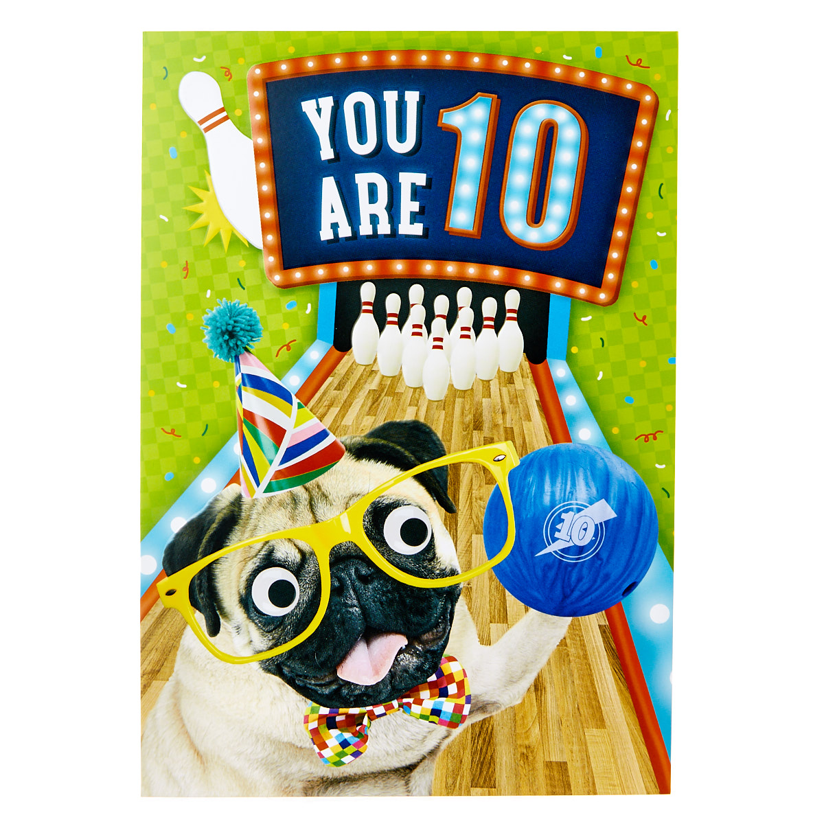10th Birthday Card - Bowling Pug