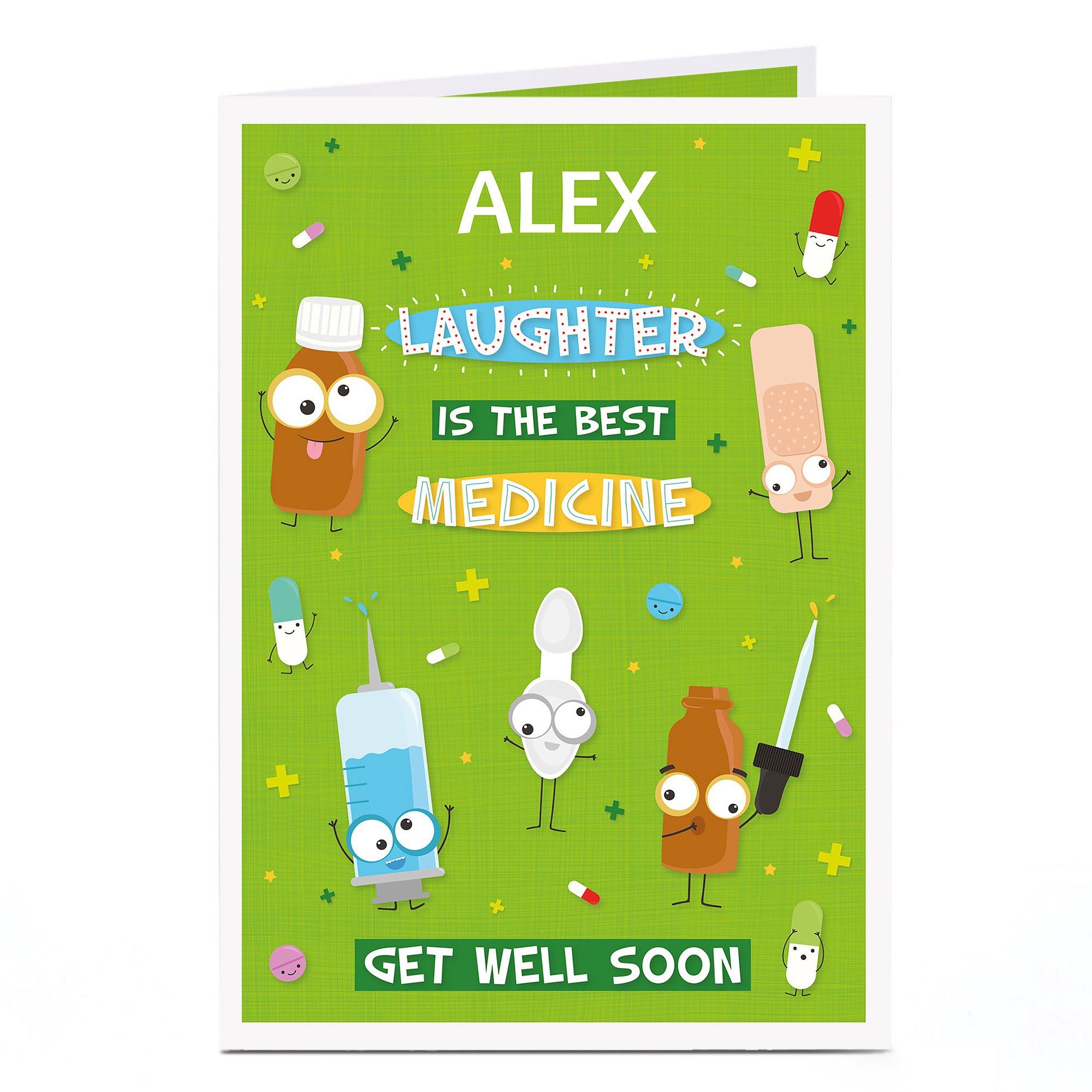 Personalised Get Well Soon Card - Laughter Is The Best Medicine