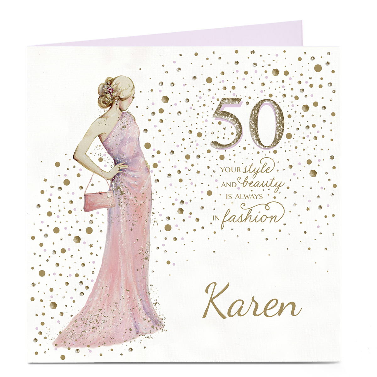 buy personalised 50th birthday card  style and beauty for
