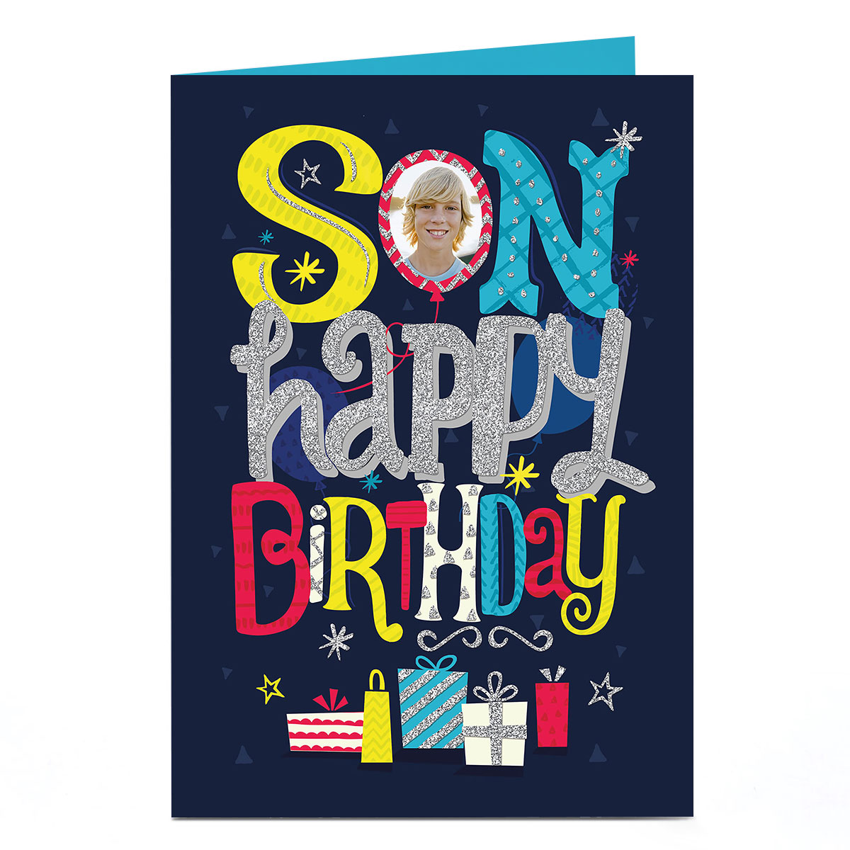 Photo Birthday Card - Son Balloon