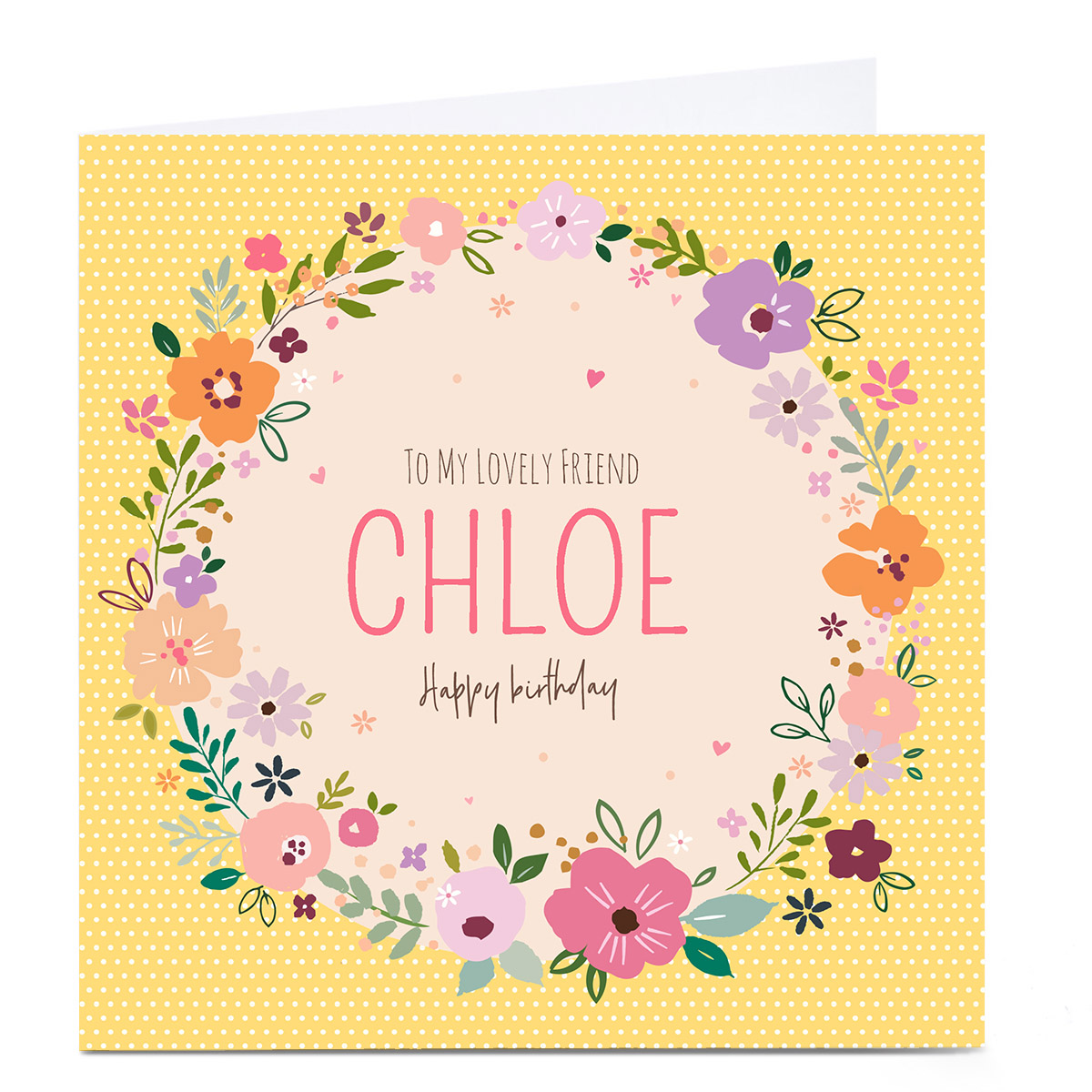 Personalised Nikki Upsher Birthday Card - Yellow Floral Wreath