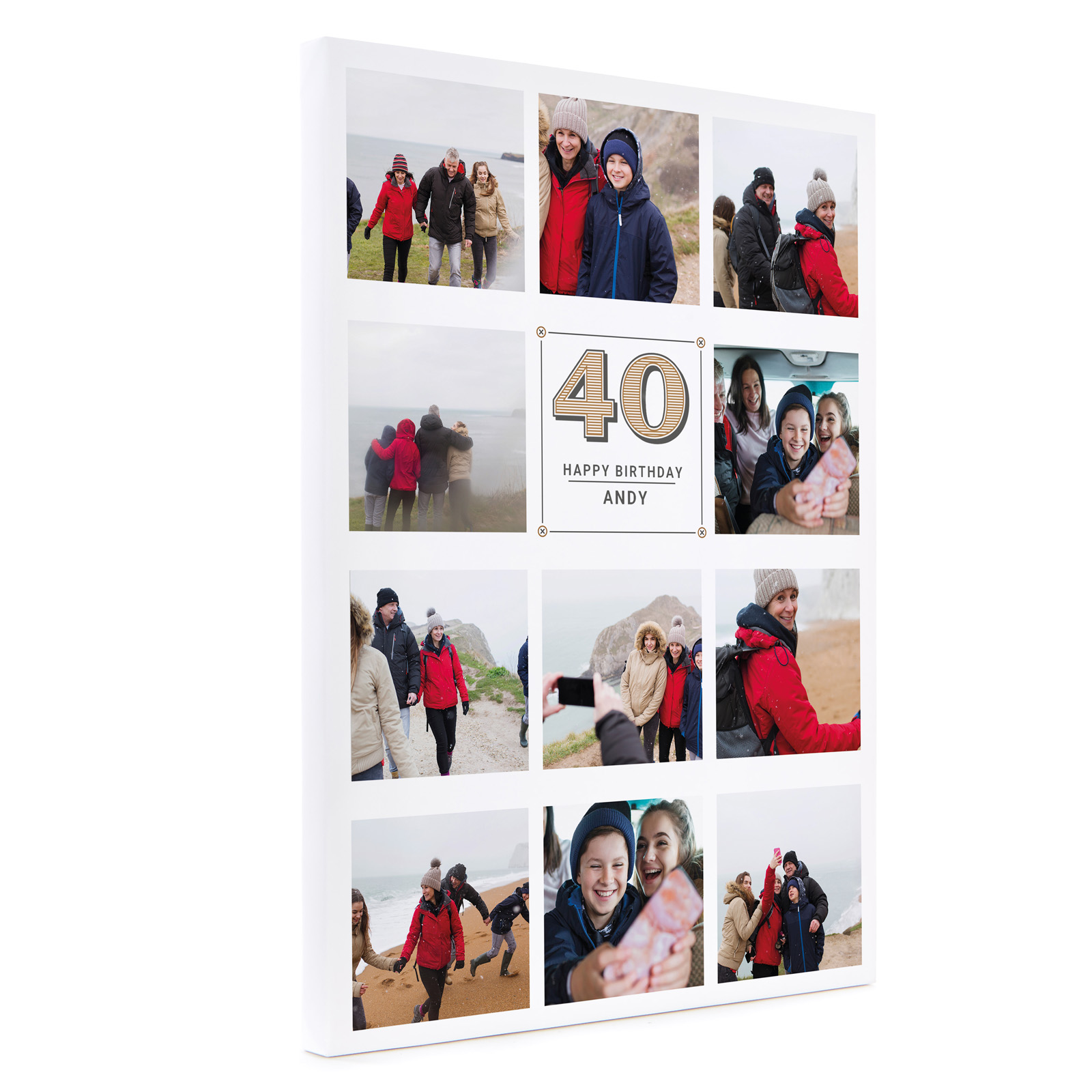 Personalised 40th Birthday Canvas 16x12 Inches (Portrait) - Vintage Collage, Any Age