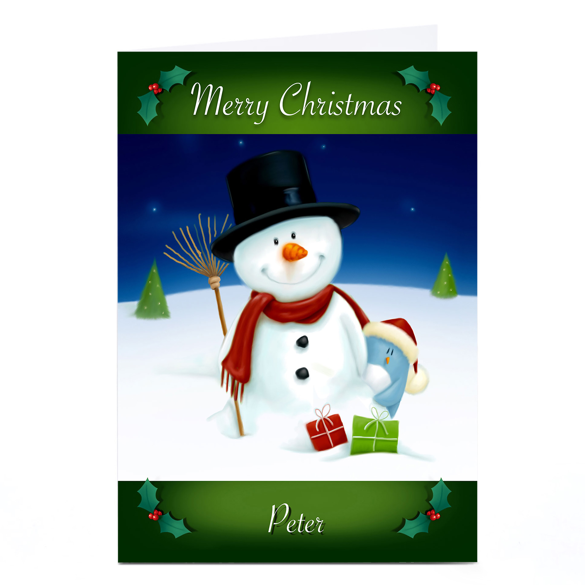 Personalised Christmas Card - Snowman & Penguin