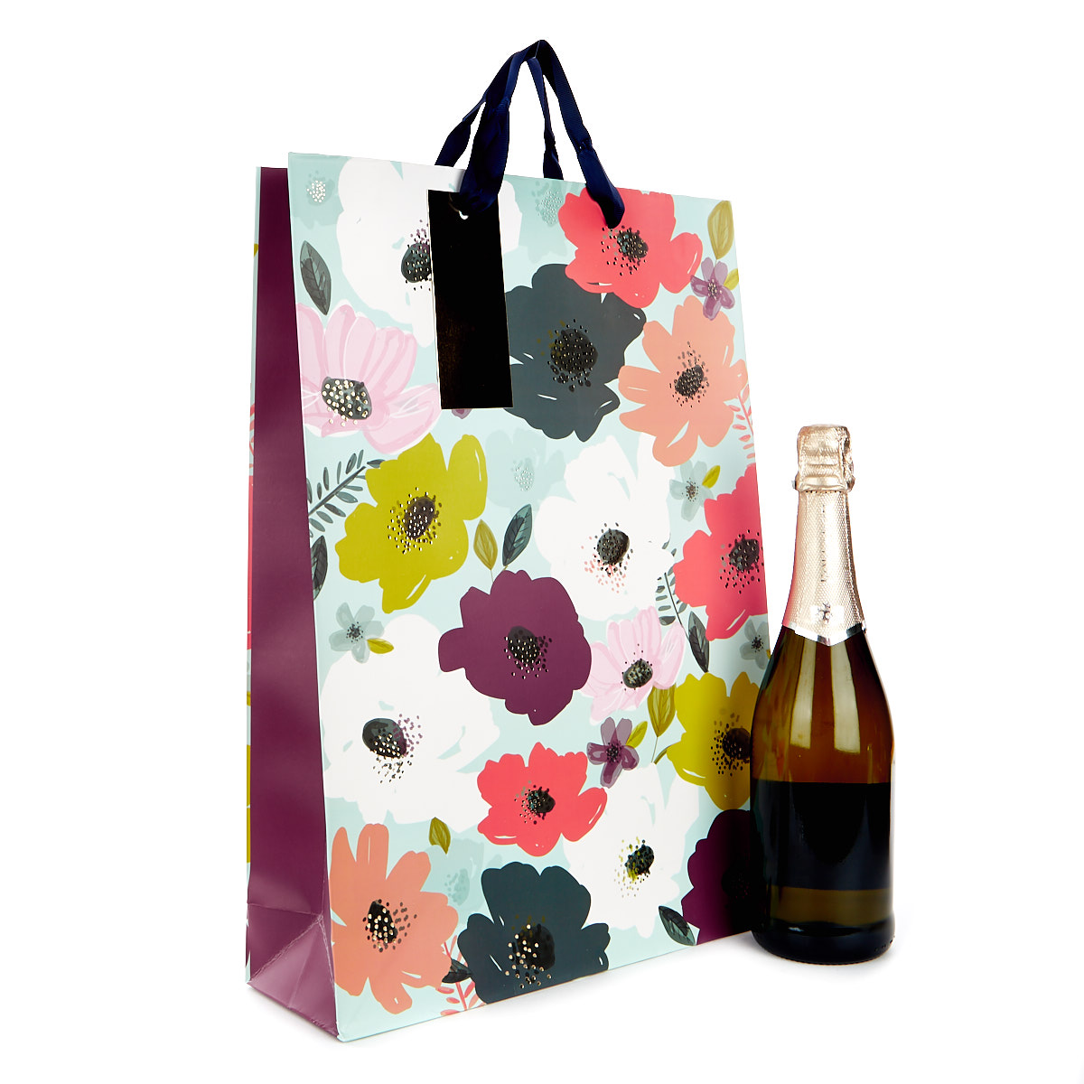 Large Blue & Purple Floral Gift Bag
