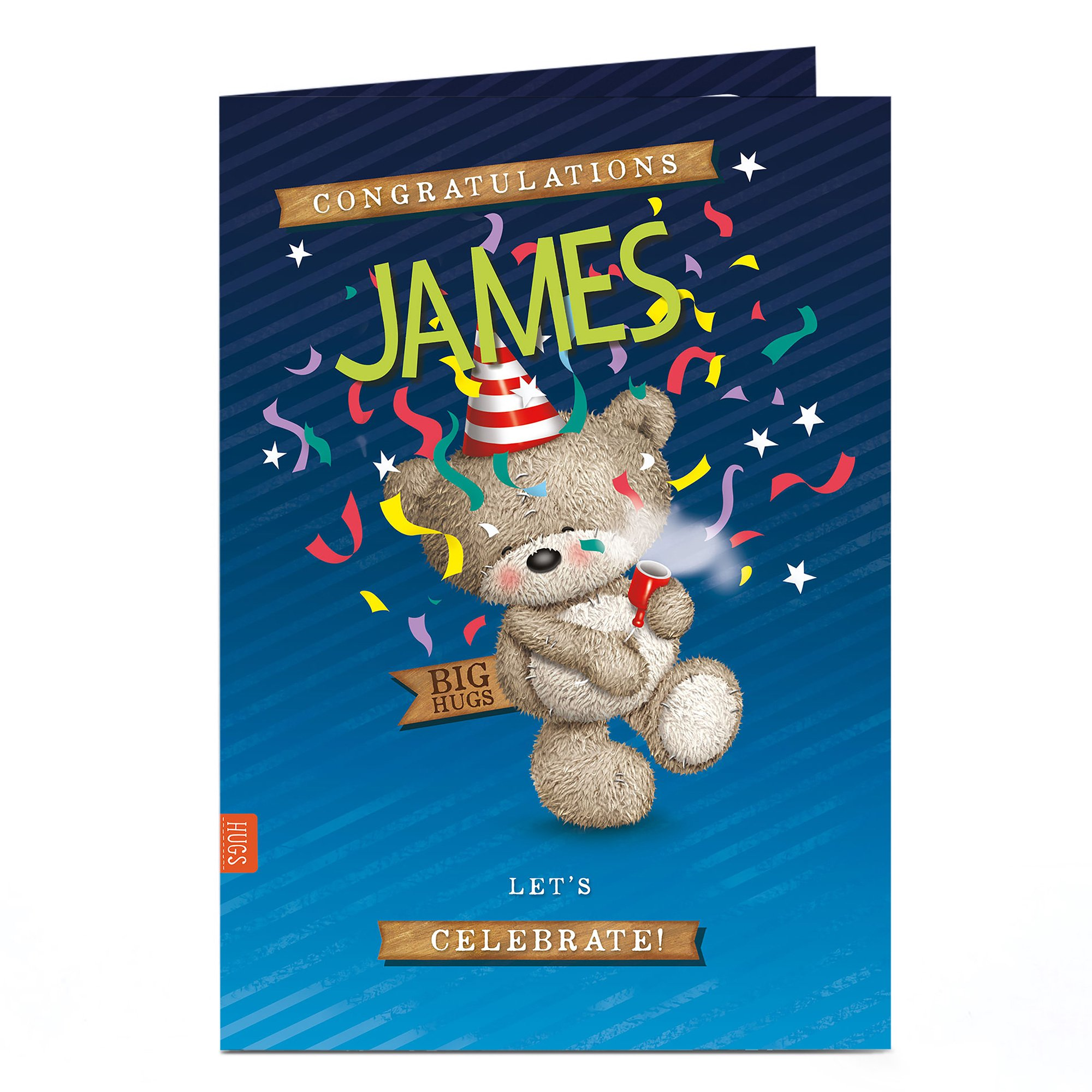 Personalised Hugs Congratulations Card - Lets Celebrate!
