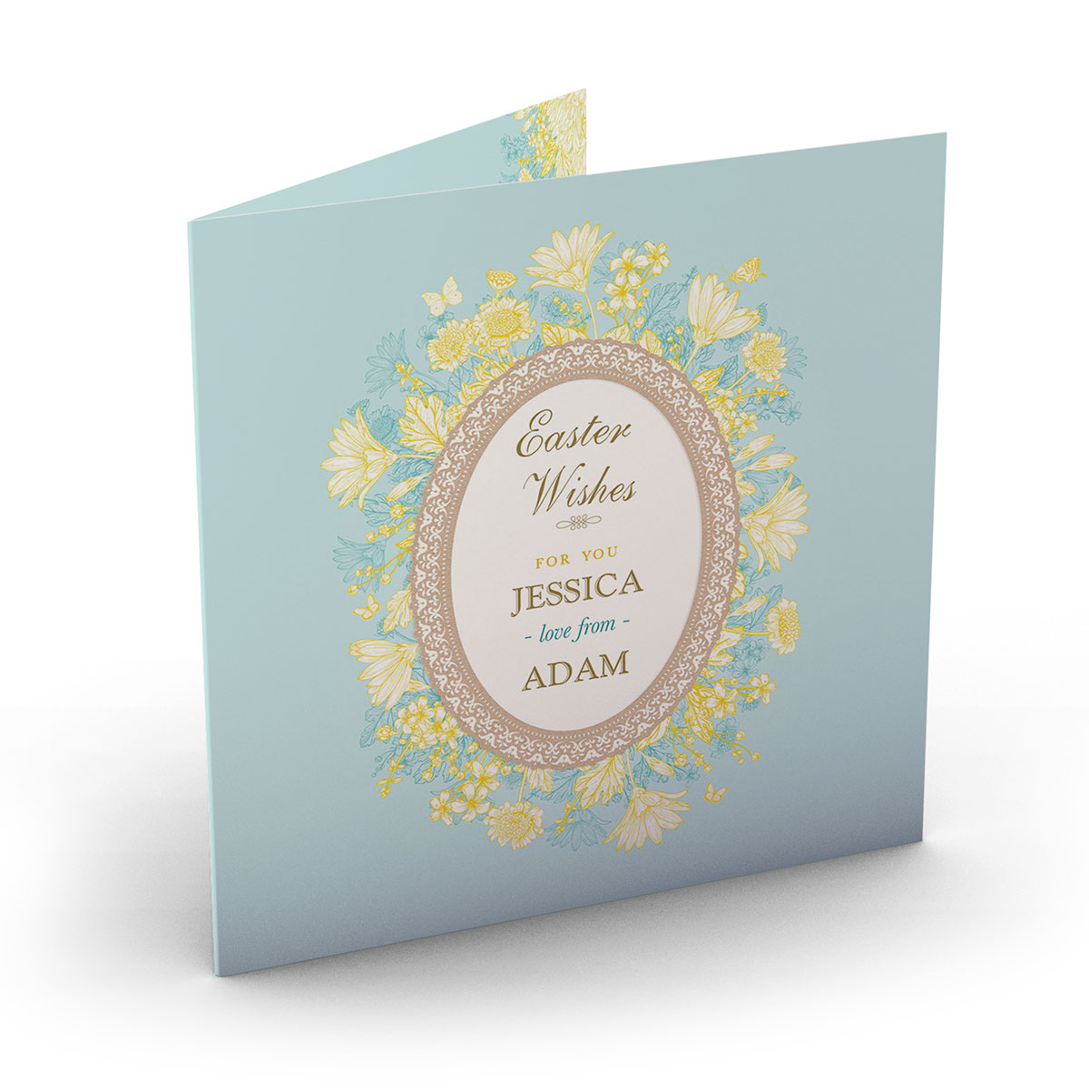 Personalised Easter Card - Lemon Floral Wishes