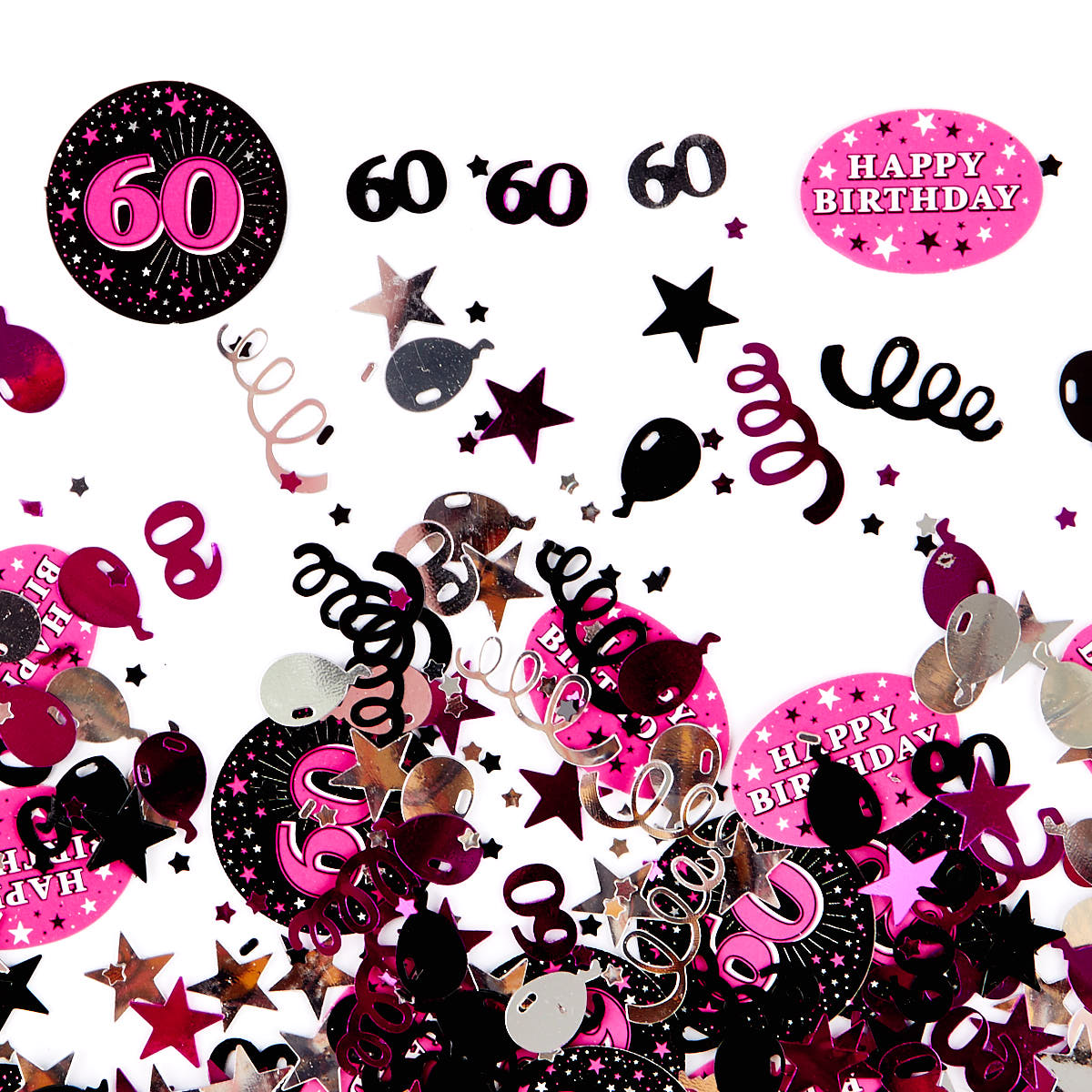 60th Birthday Pink Foiletti - Pack Of Three