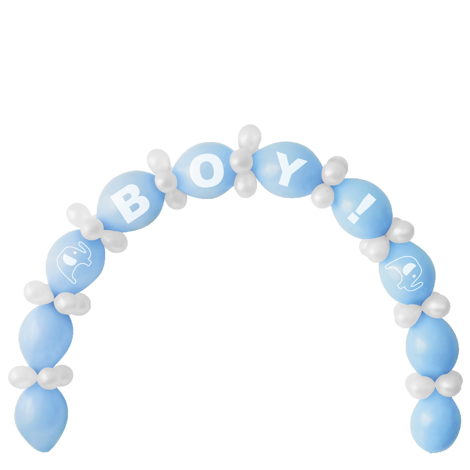Blue Baby Shower Balloon Chain & Figures Kit - 64 Balloons