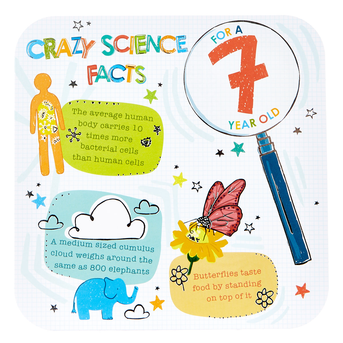 Platinum Collection 7th Birthday Card - Crazy Science Facts