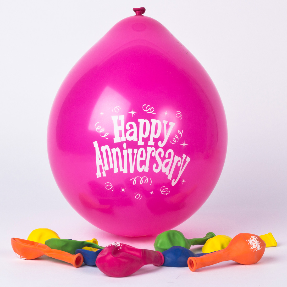 Multicoloured Happy Anniversary Small Latex Balloons, Pack Of 10