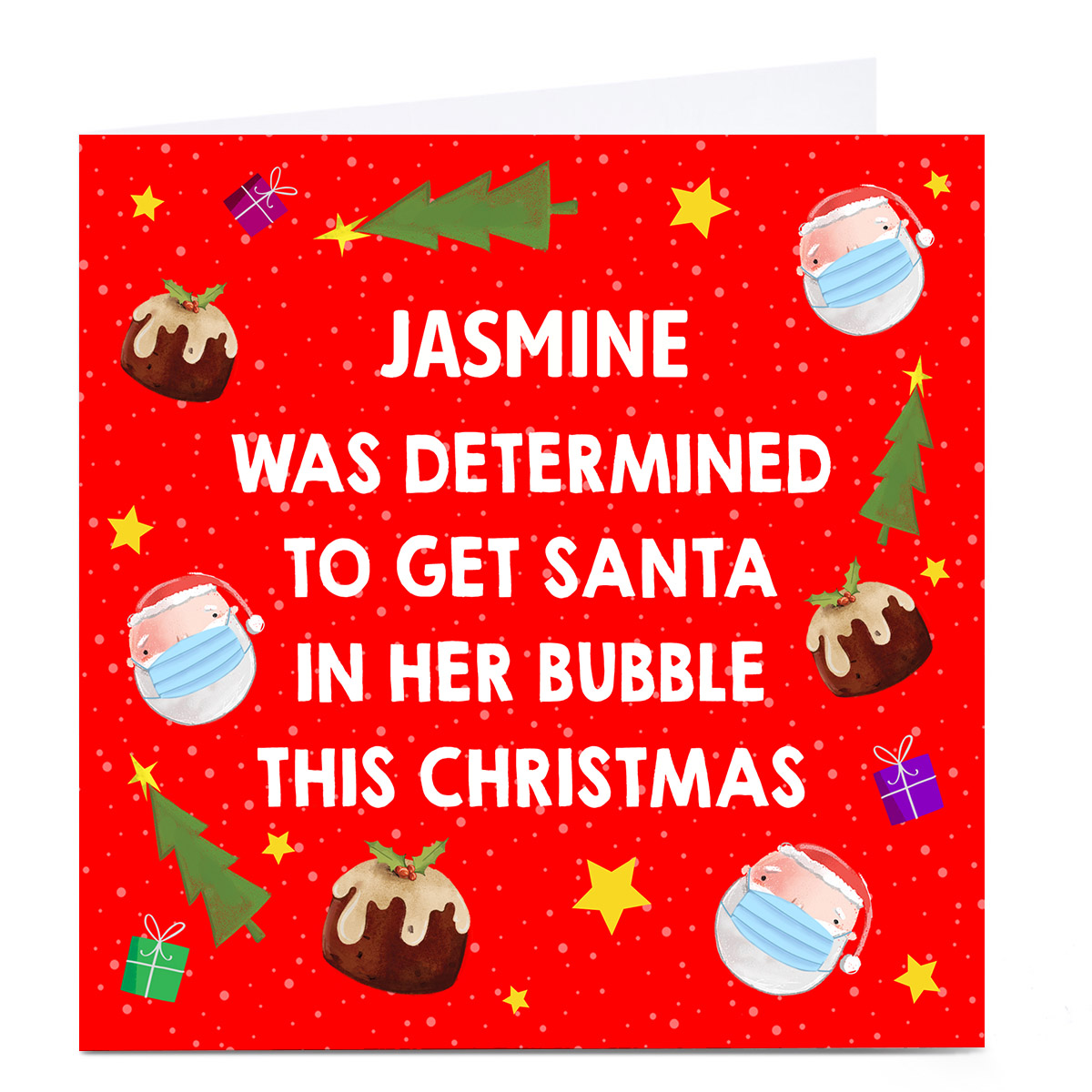Personalised Lockdown Christmas Card - Santa In Her Bubble