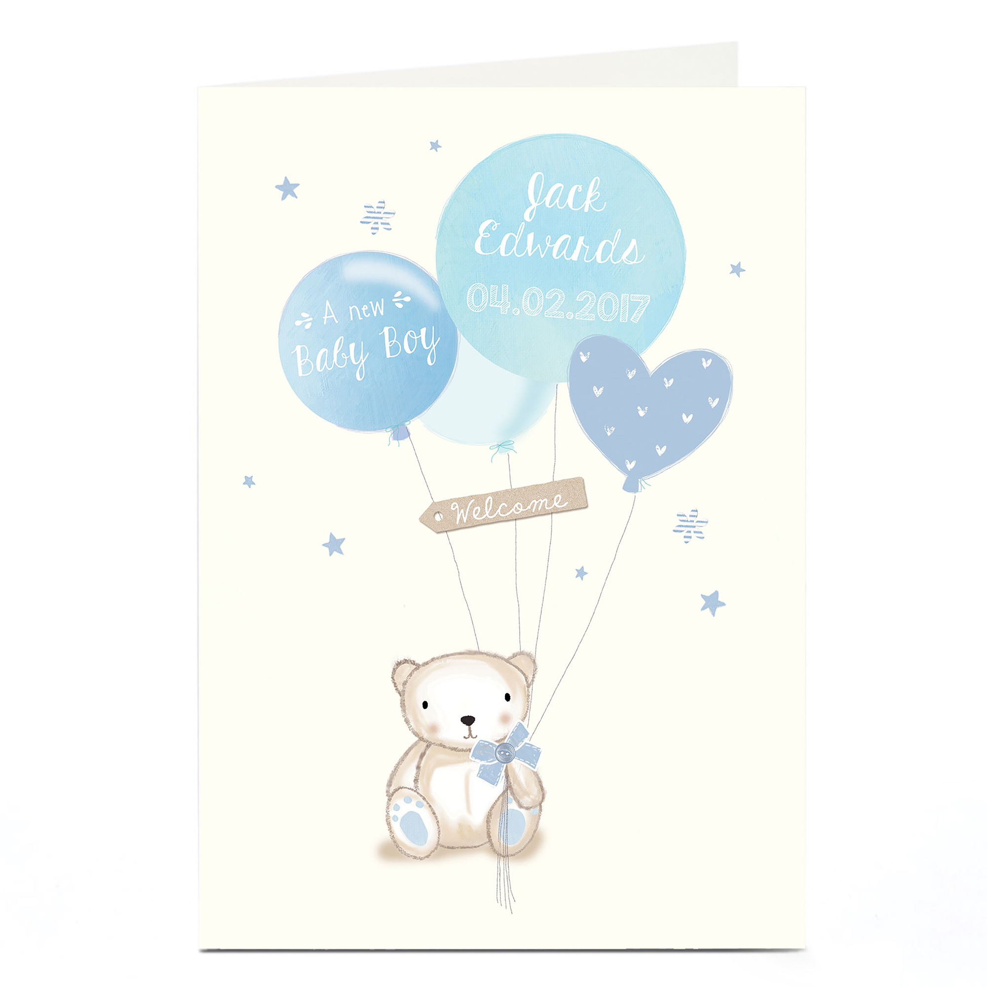 Personalised New Baby Card - Baby Boy Bear & Balloons