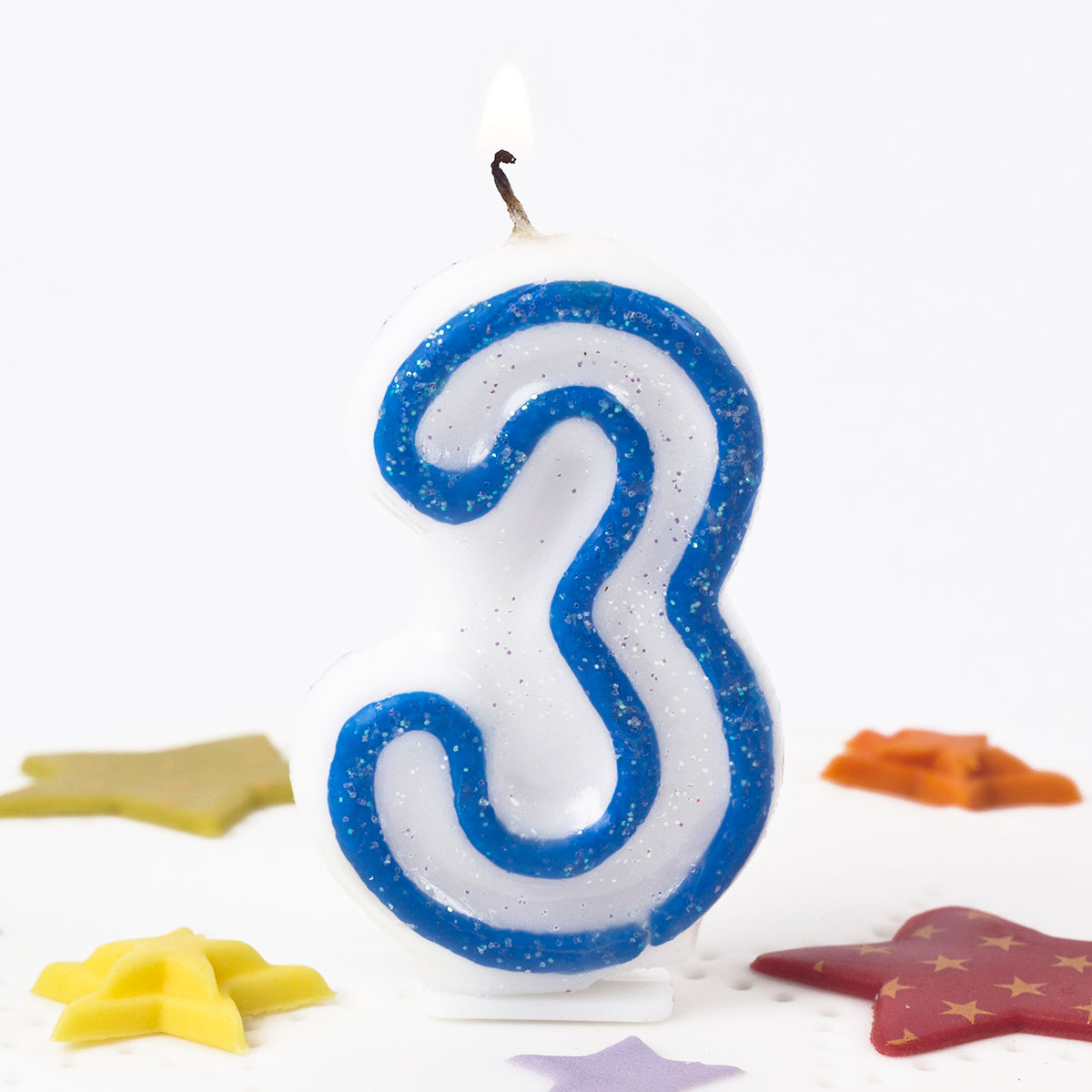 Blue Glittery Number 3 Birthday Candle