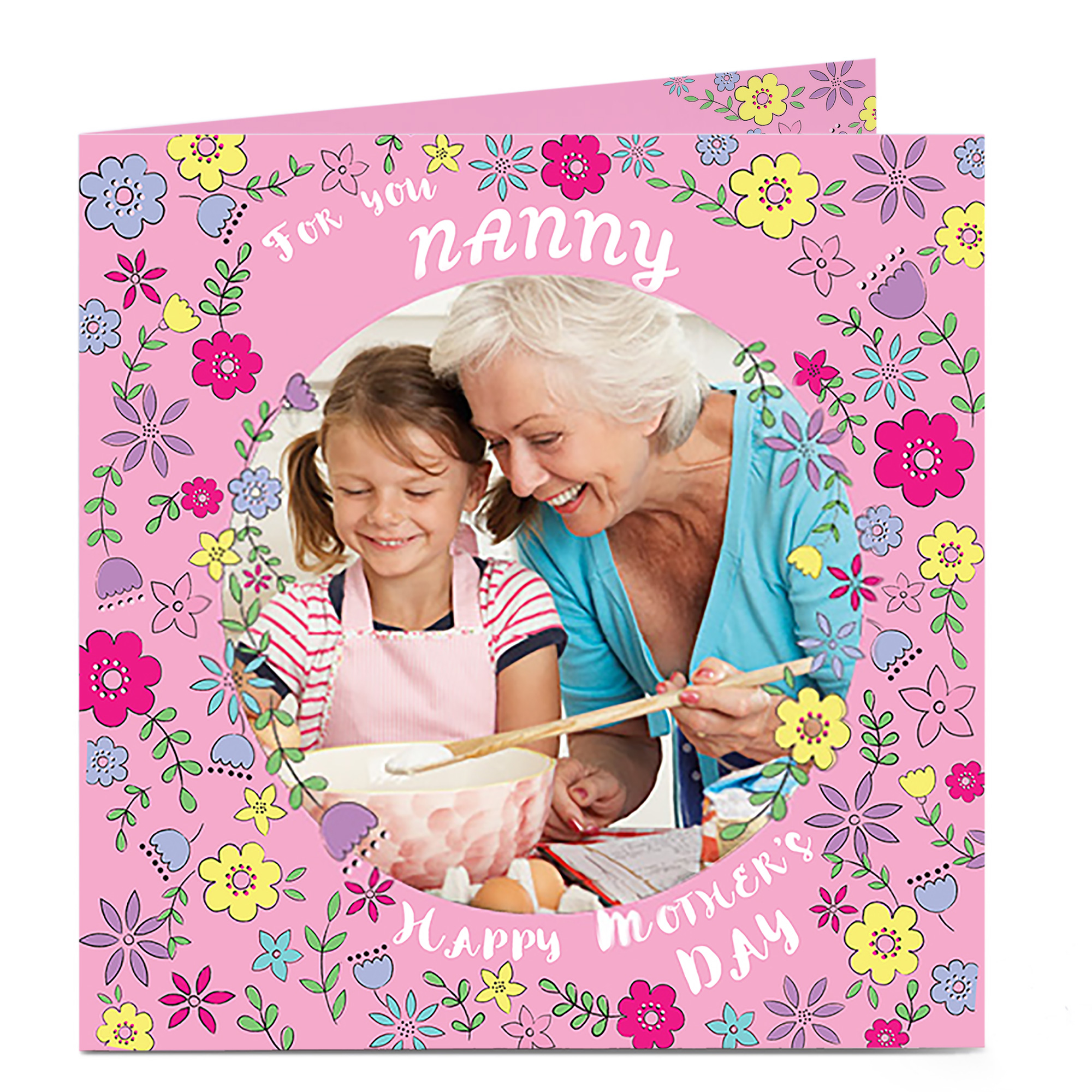 Photo Mother's Day Card - Nanny, Floral Downpour